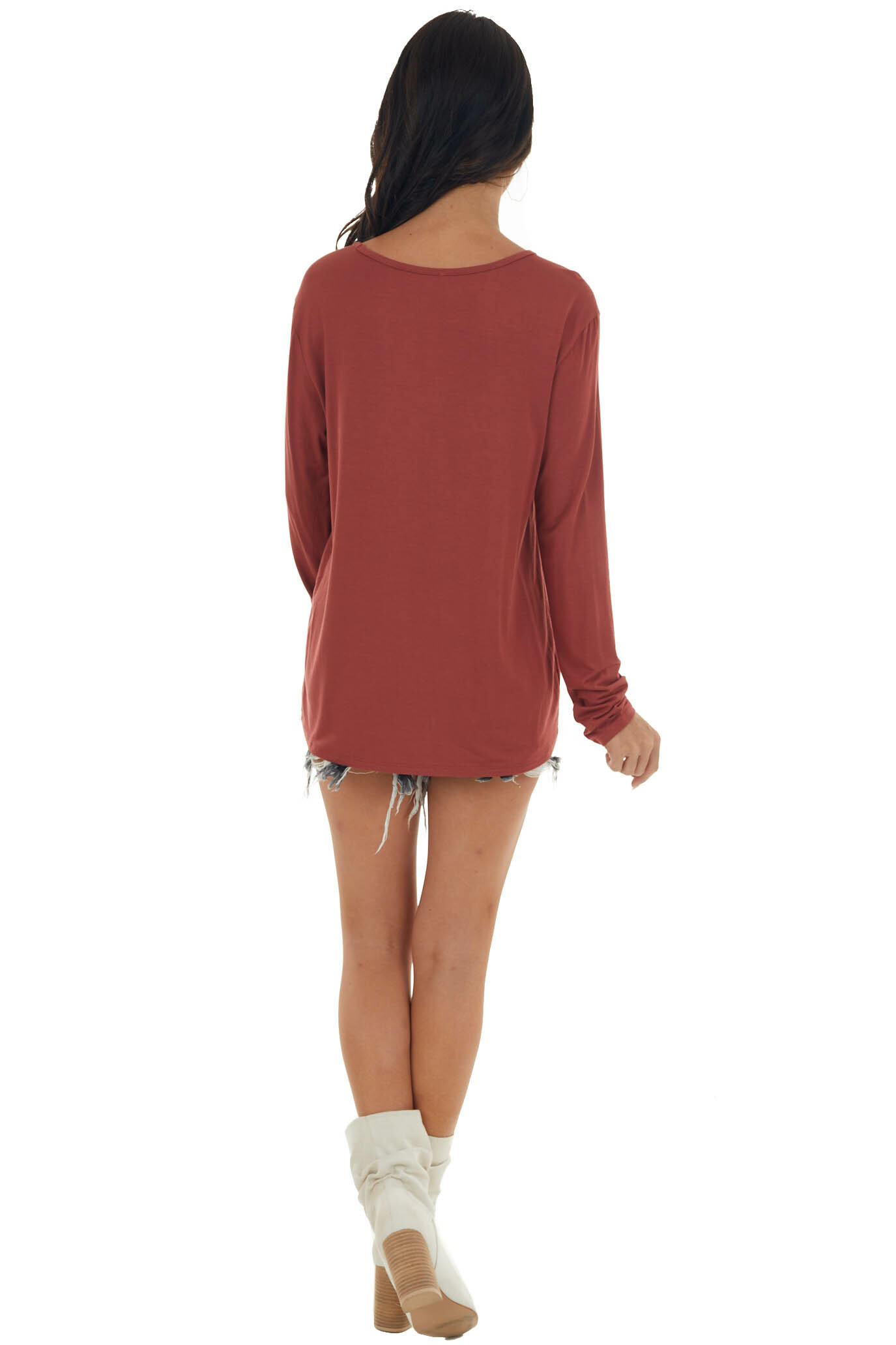 Dark Rust Long Sleeve V Neck Cut Out Knit Top
