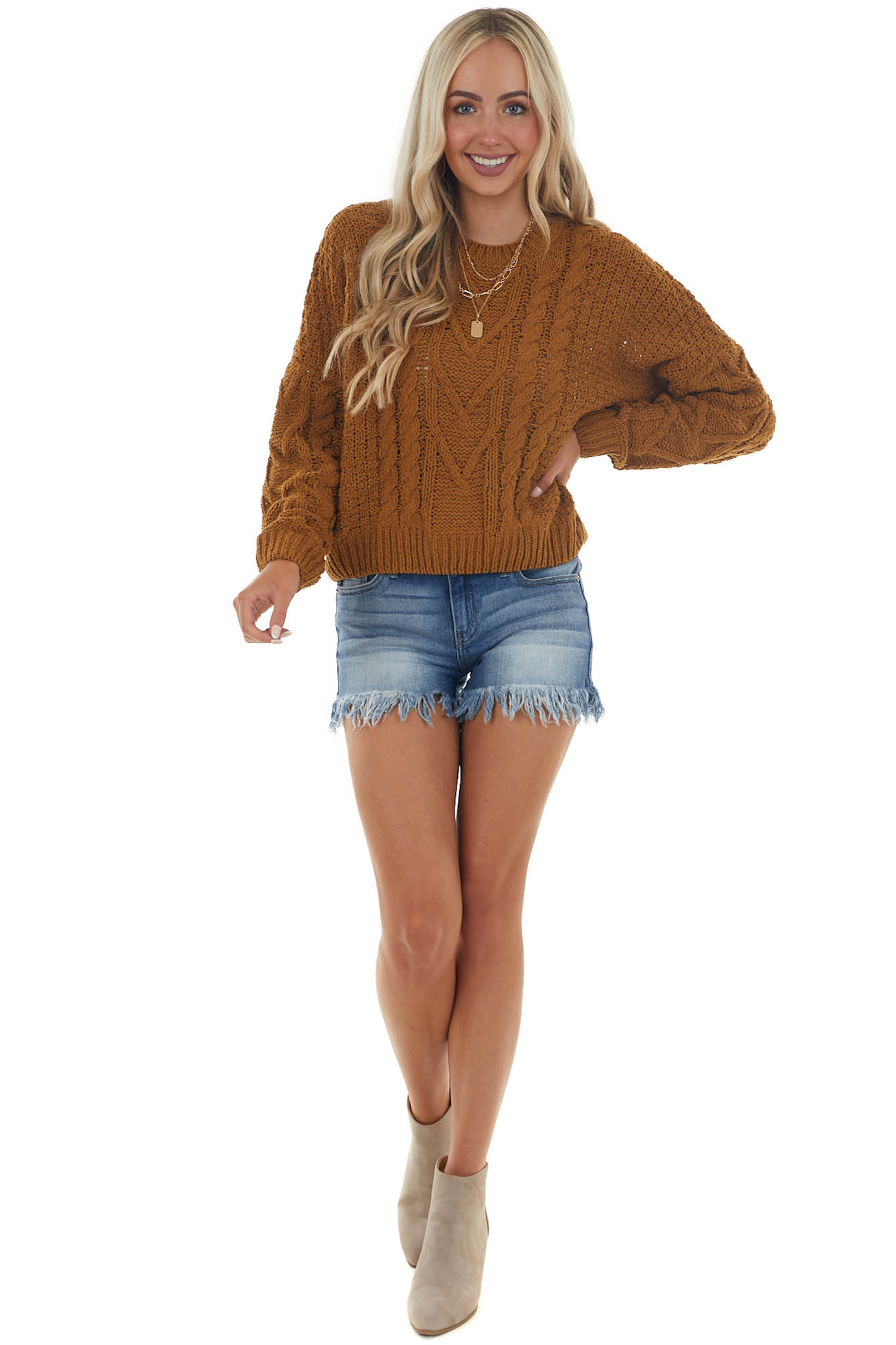 Brown Sugar Slight Crop Cable Knit Sweater