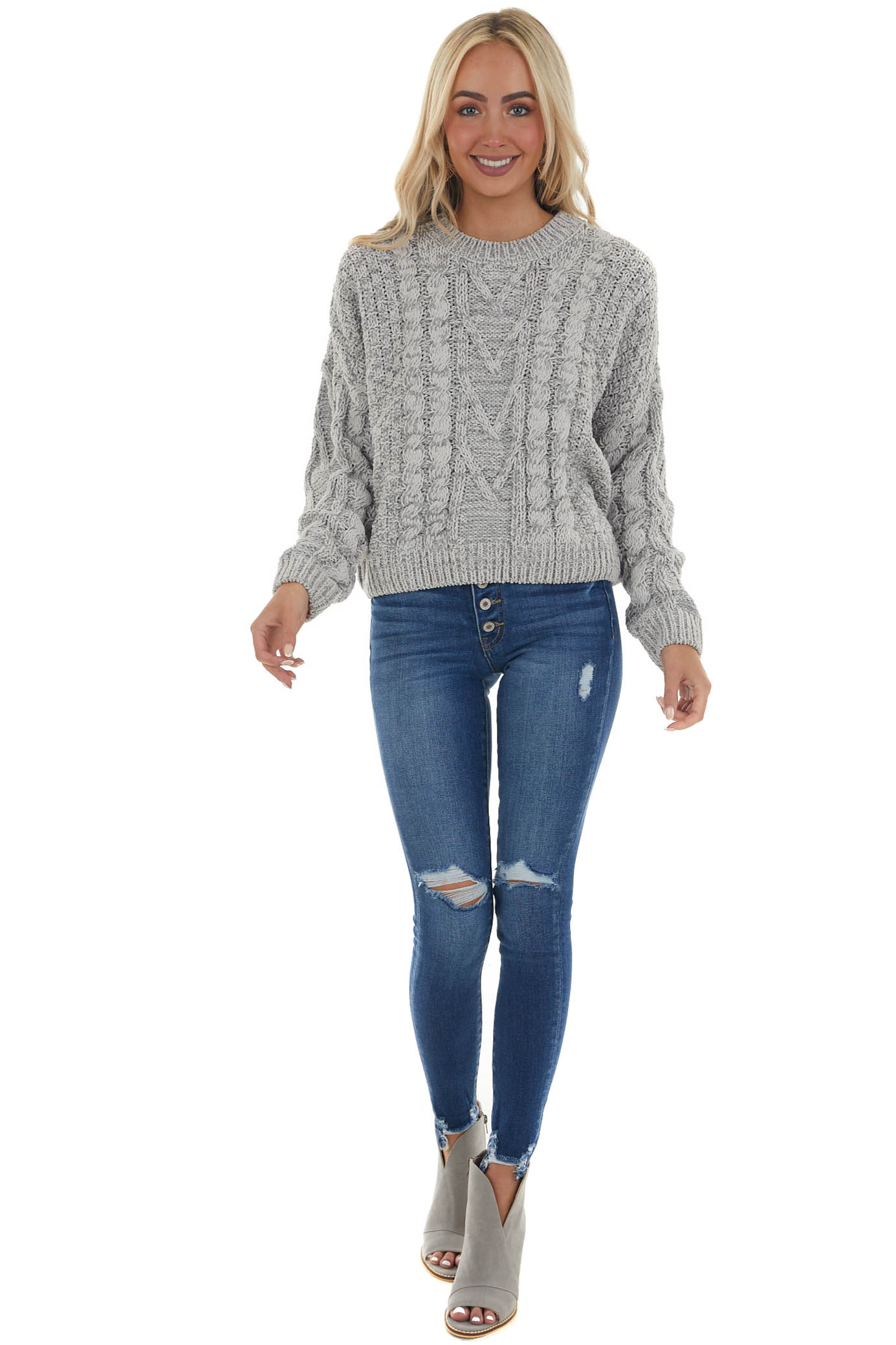 Heather Grey Slight Crop Cable Knit Sweater
