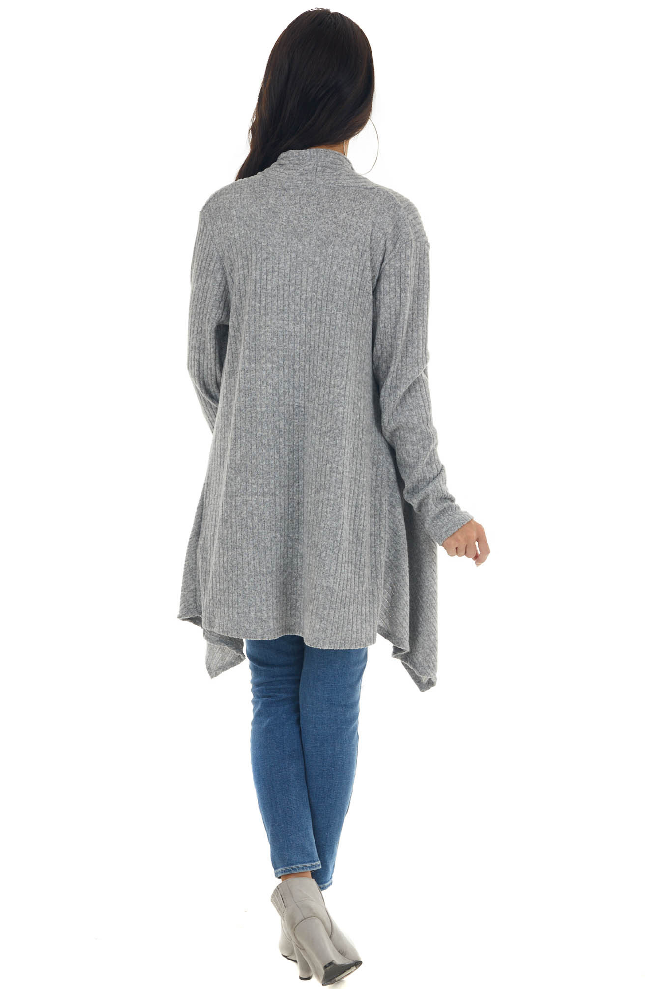 Steel Grey Open Front Ribbed Knit Cardigan