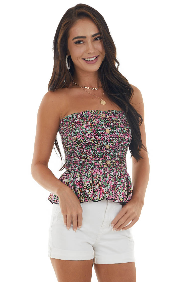 Black Floral Strapless Peplum Cropped Top