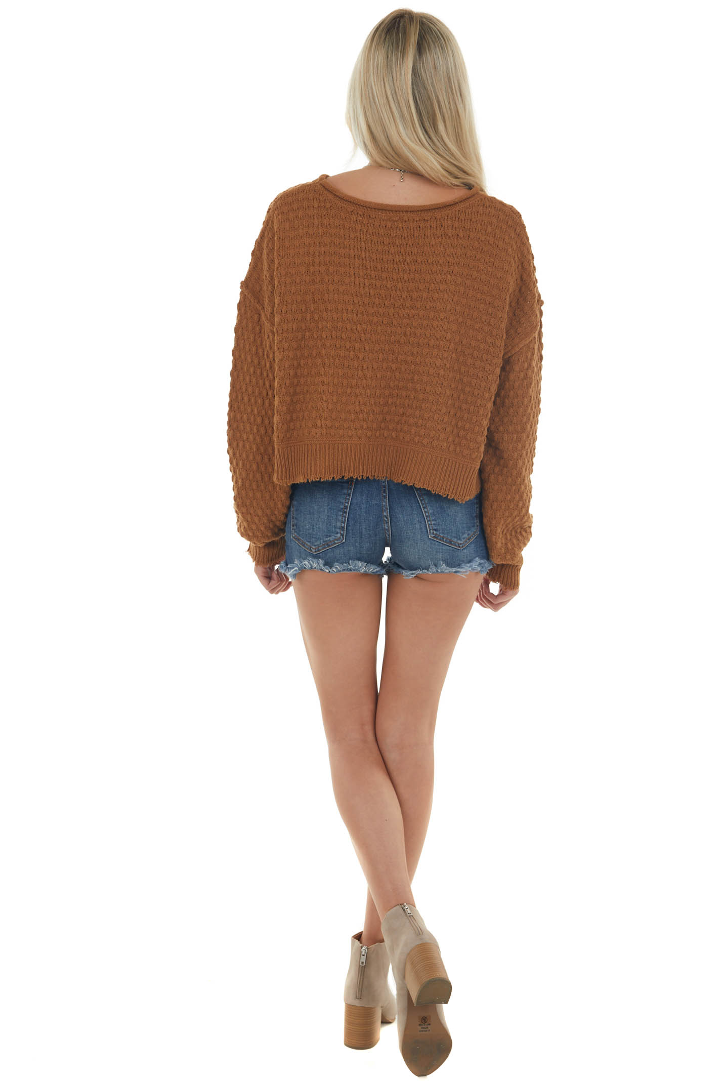 Brown Sugar Textured Long Sleeve Knit Sweater