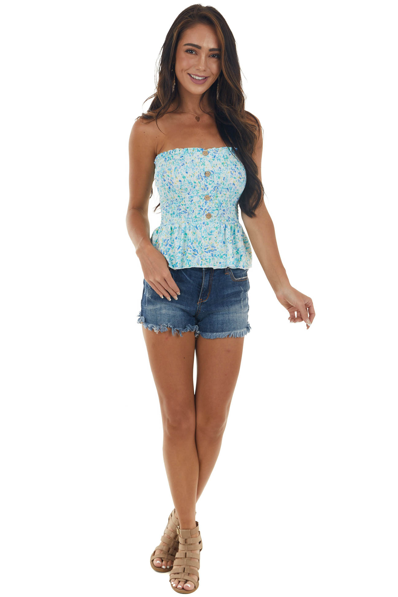Off White Floral Strapless Peplum Cropped Top
