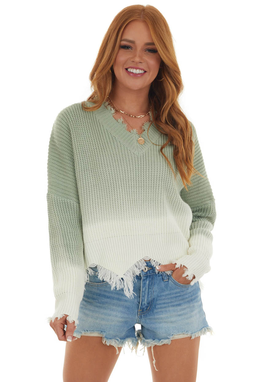 Dark Sea Green Ombre Sweater with Fraying Ends
