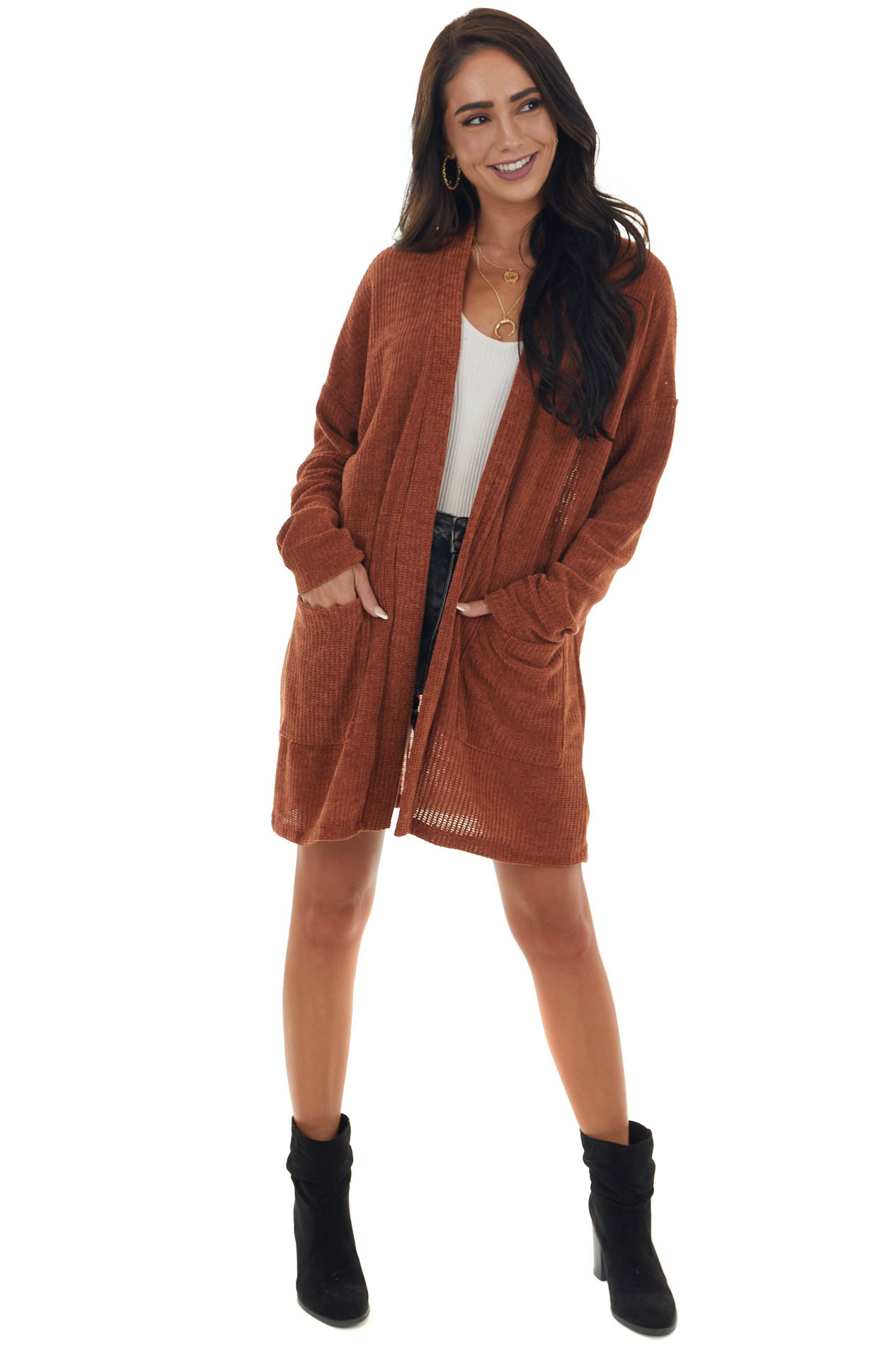 Pumpkin Spice Chenille Cardigan with Pockets