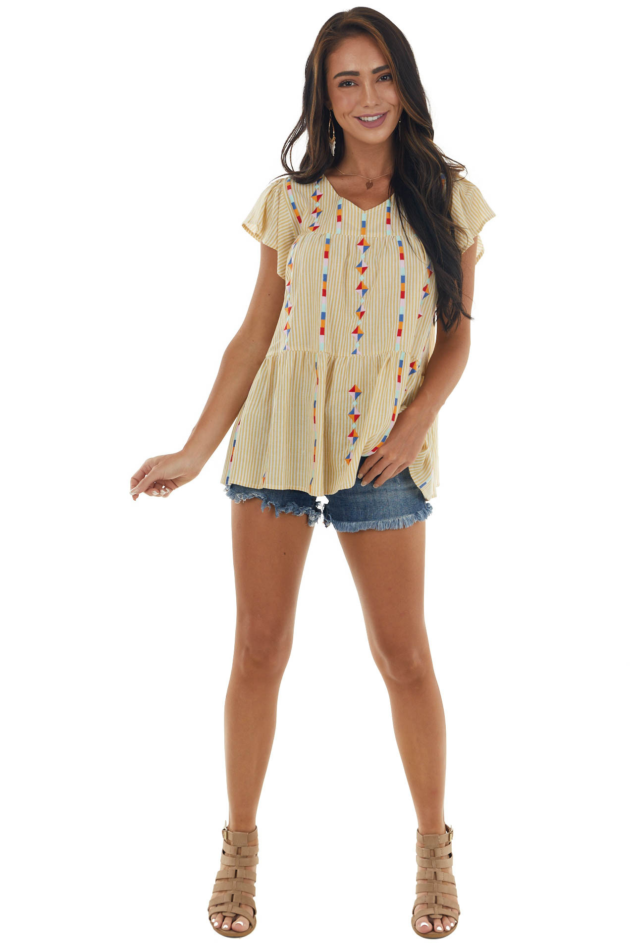 Straw and Cream Striped Shape Embroidered Top