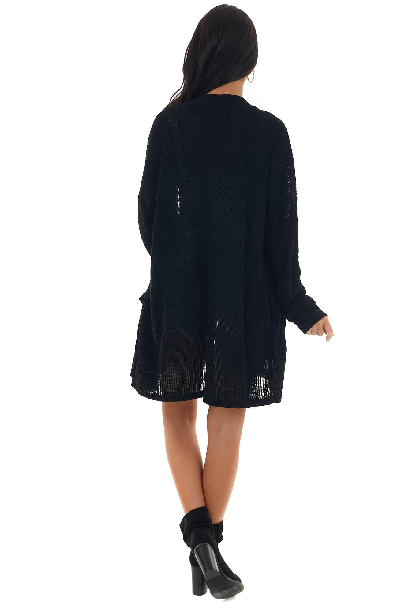 Black Chenille Cardigan with Pockets