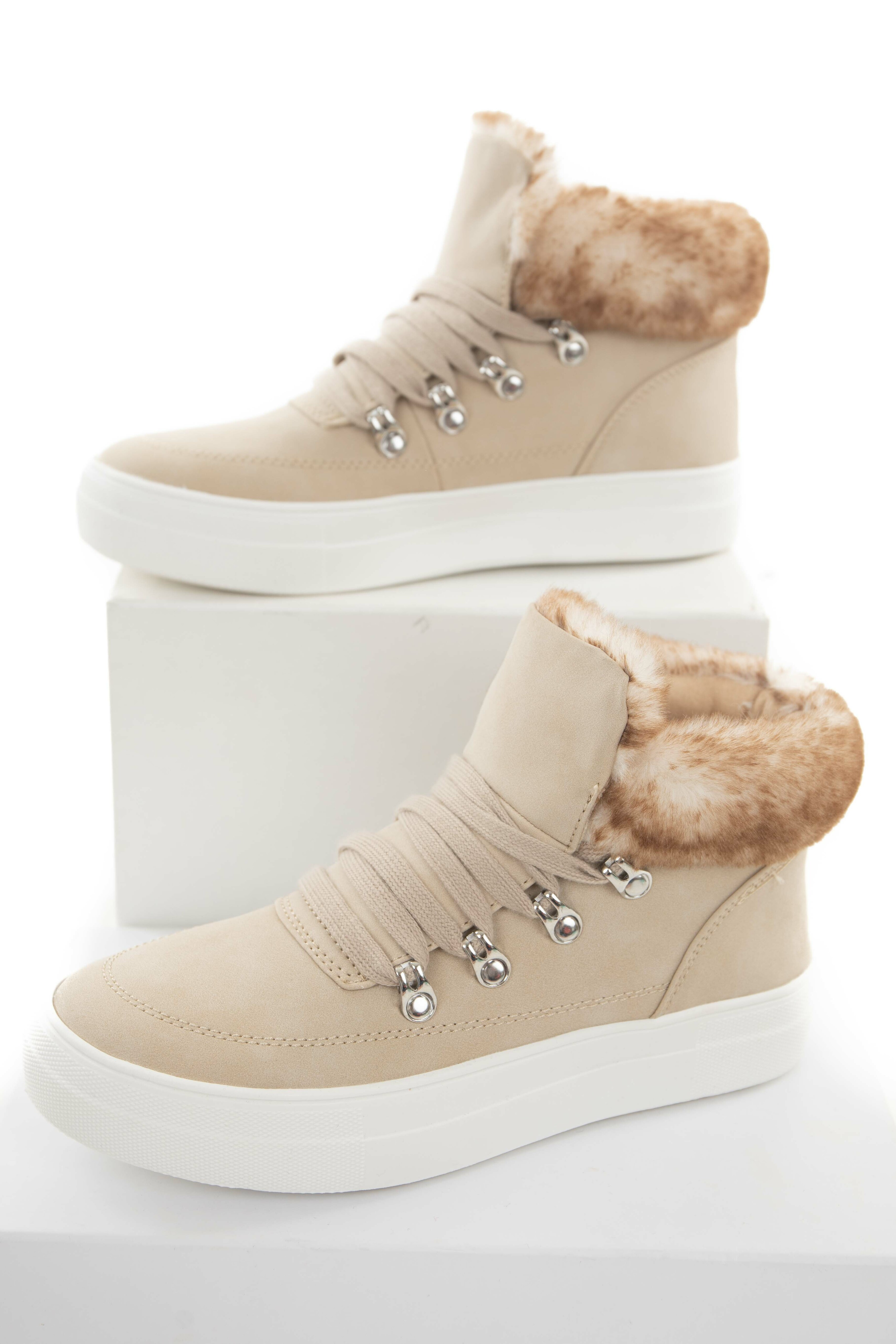 Latte Lace Up Sneakers with Faux Fur Trim