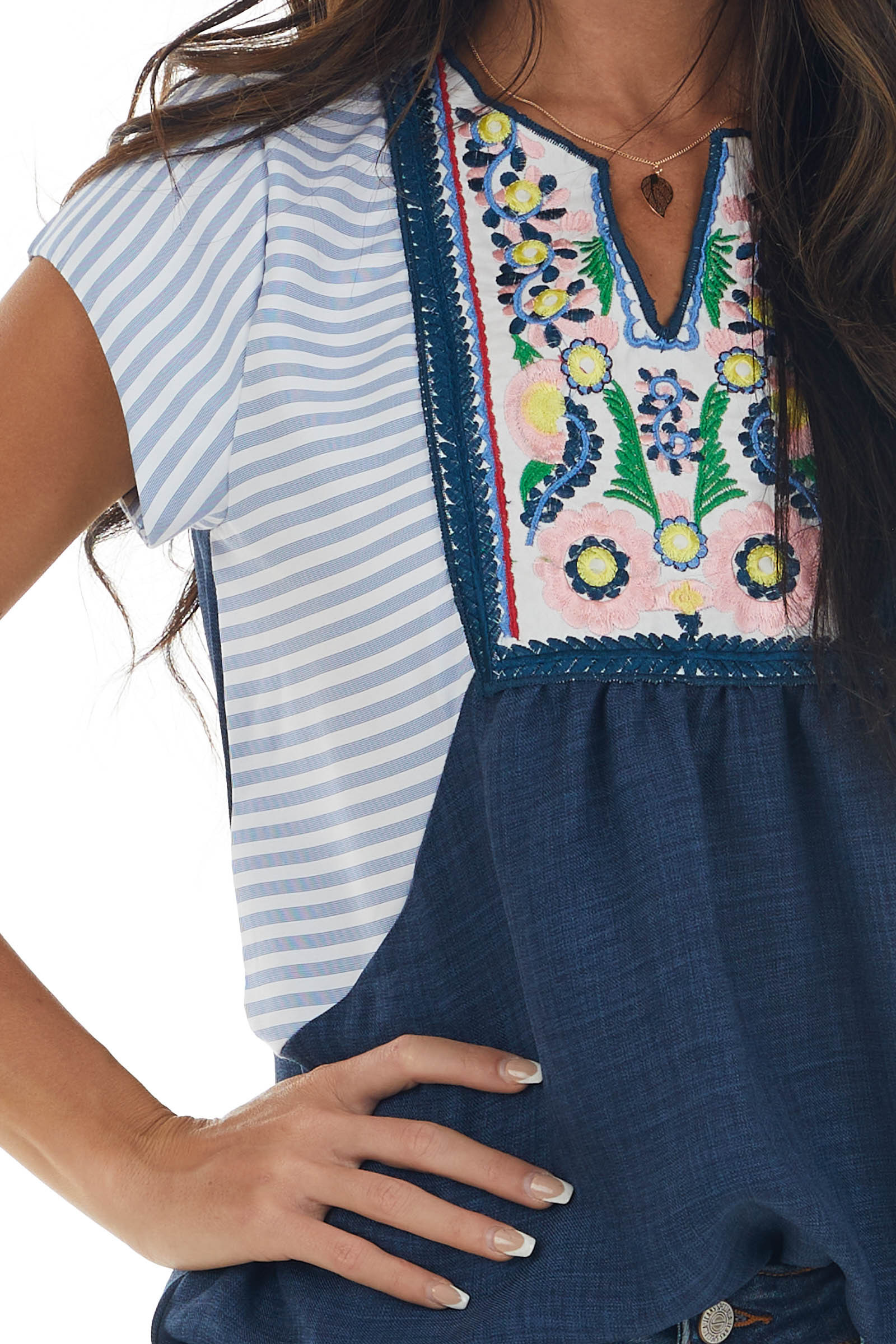 Navy Striped Floral Embroidered Cap Sleeve Top