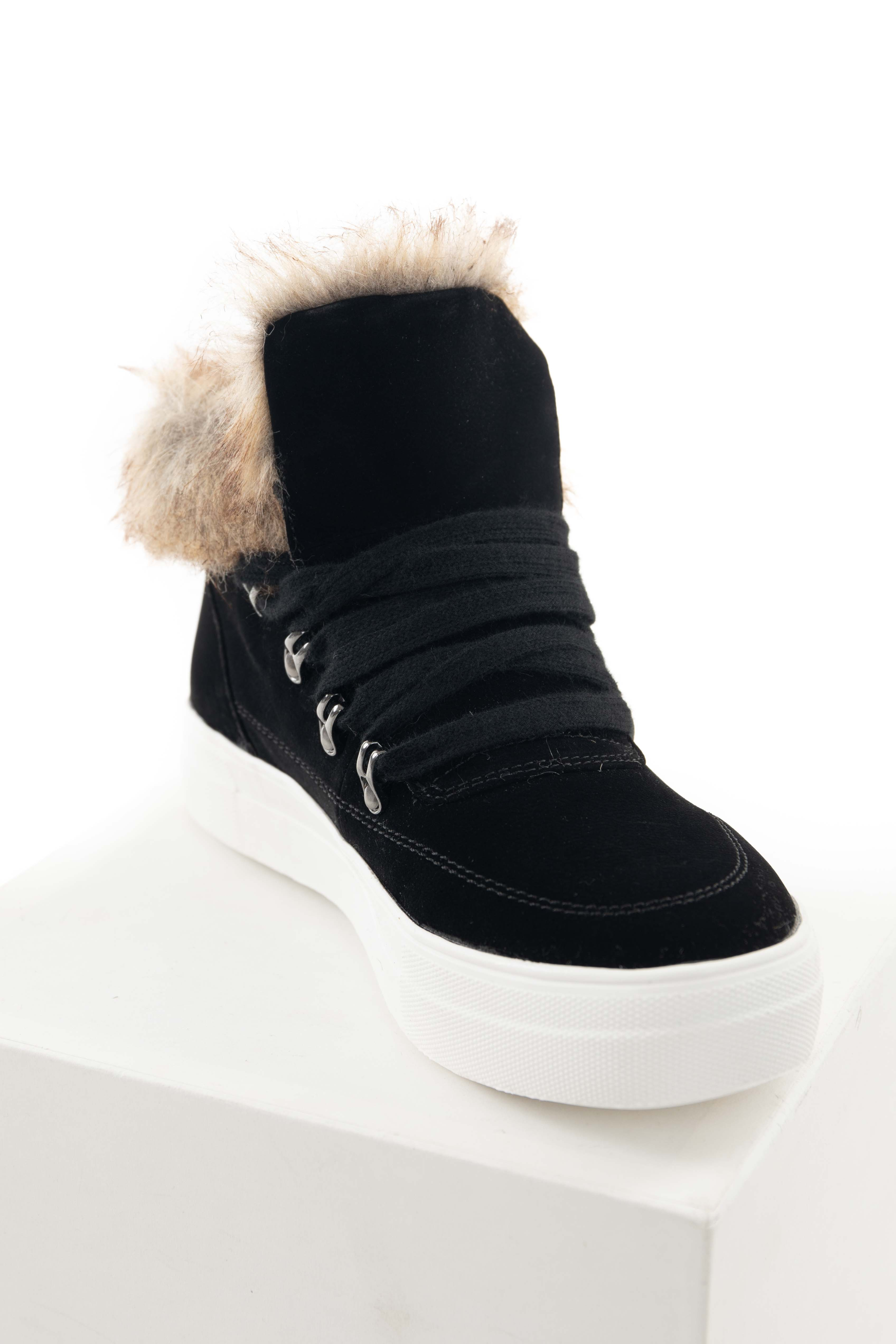 Black Lace Up Sneakers with Faux Fur Trim