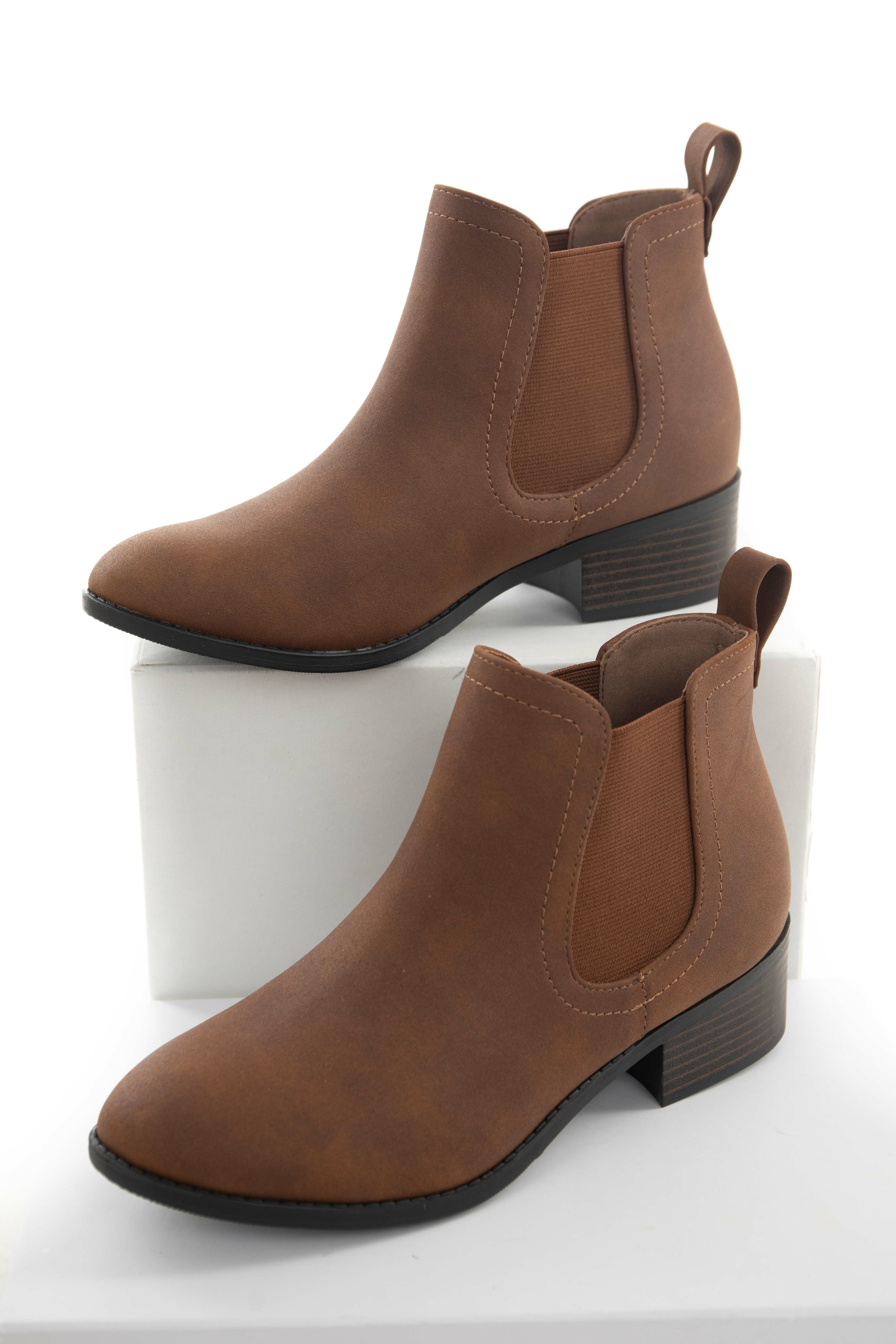 Sepia Faux Leather Bootie with Stacked Heel