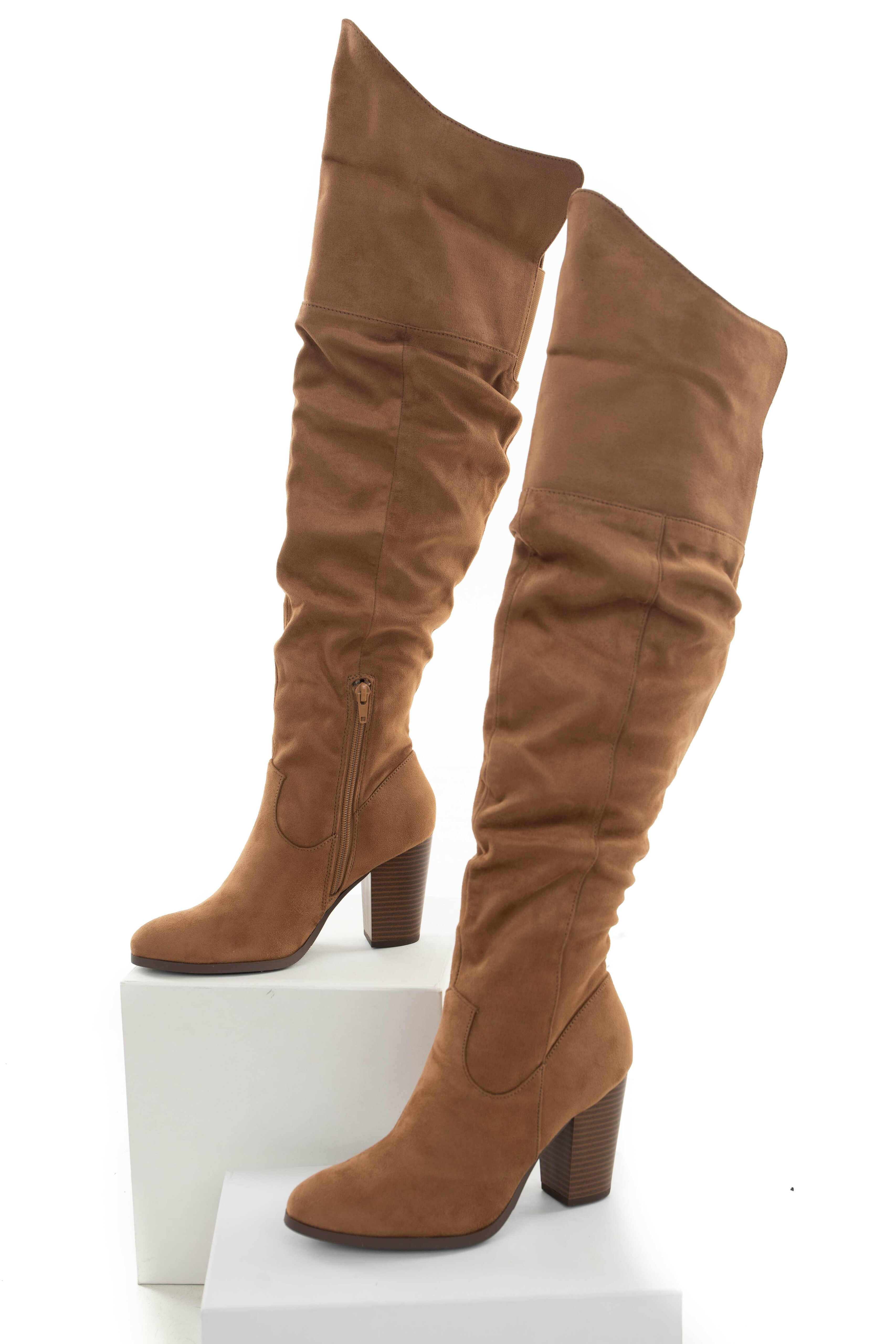 Brown Sugar Faux Suede Knee High Heeled Boots
