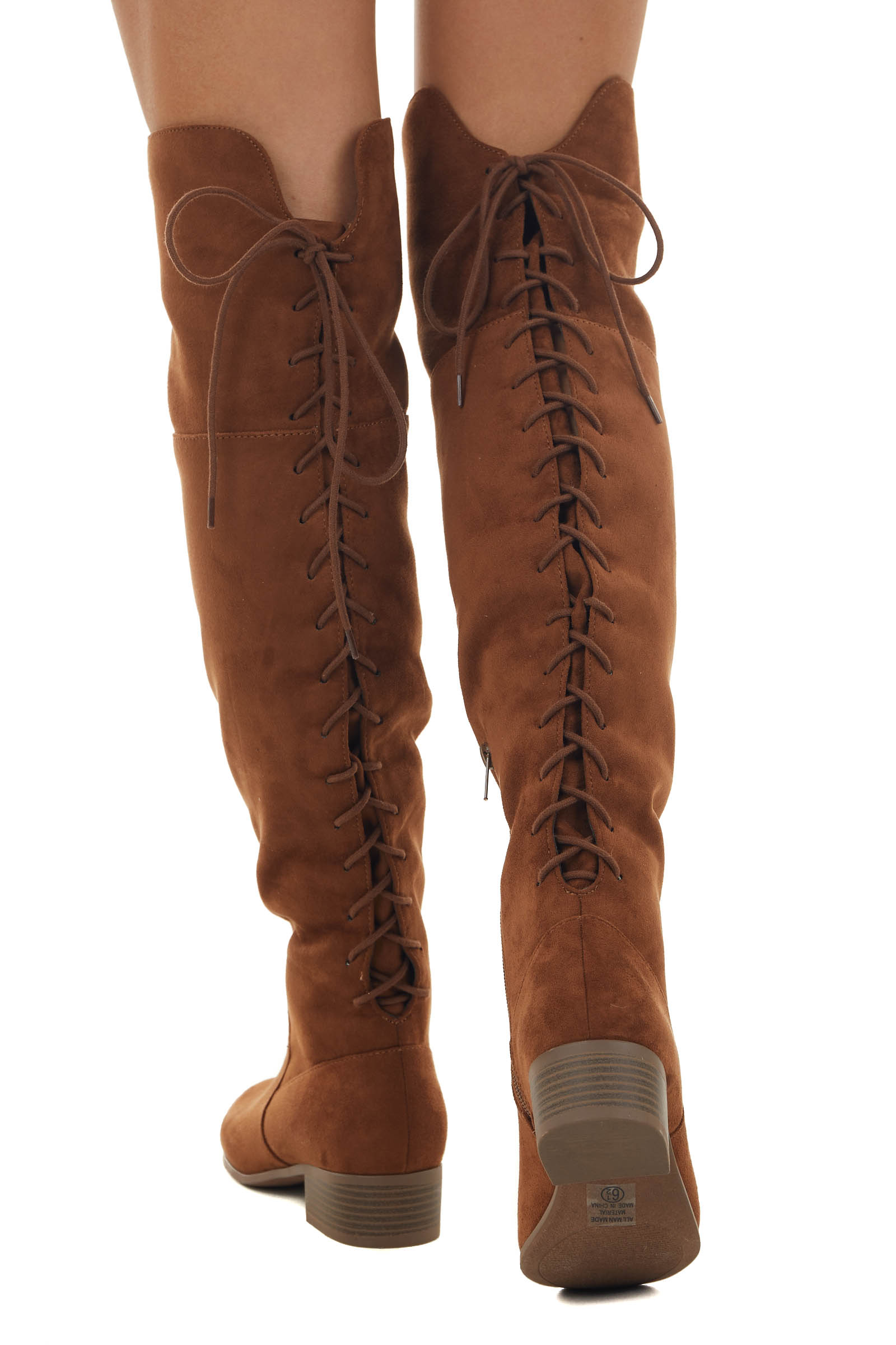 Sepia Faux Suede Lace Up Back Knee High Boots