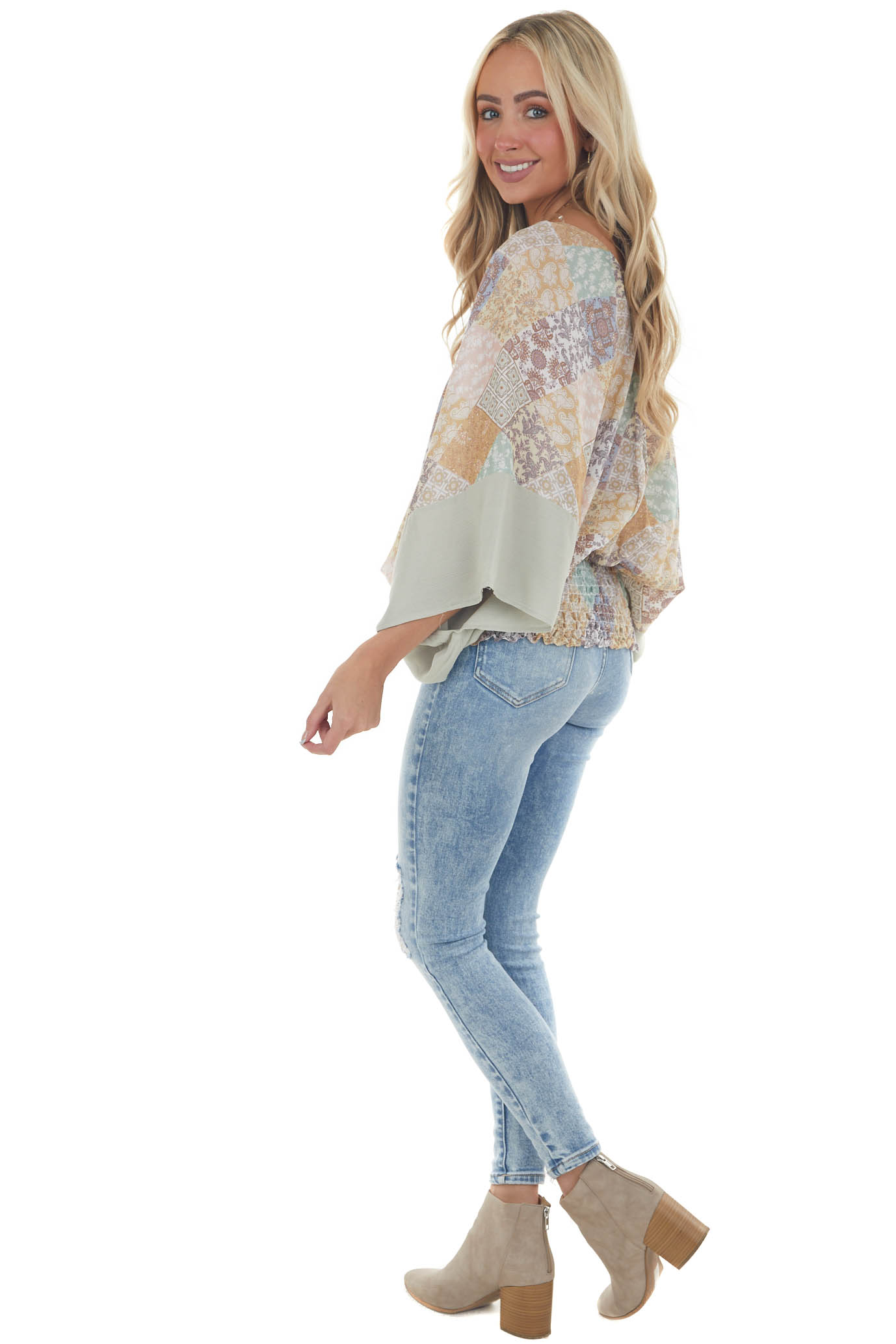 Sage Multicolor Abstract Print V Neck Blouse