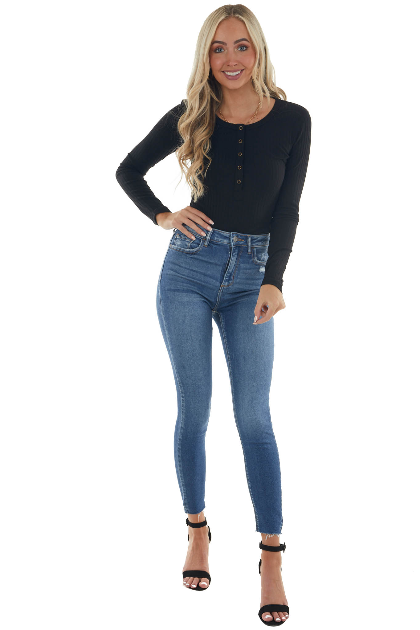 Black Ribbed Knit Bodysuit with Long Sleeves