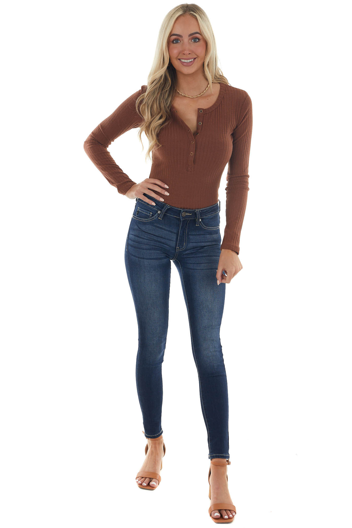 Sepia Ribbed Knit Bodysuit with Long Sleeves