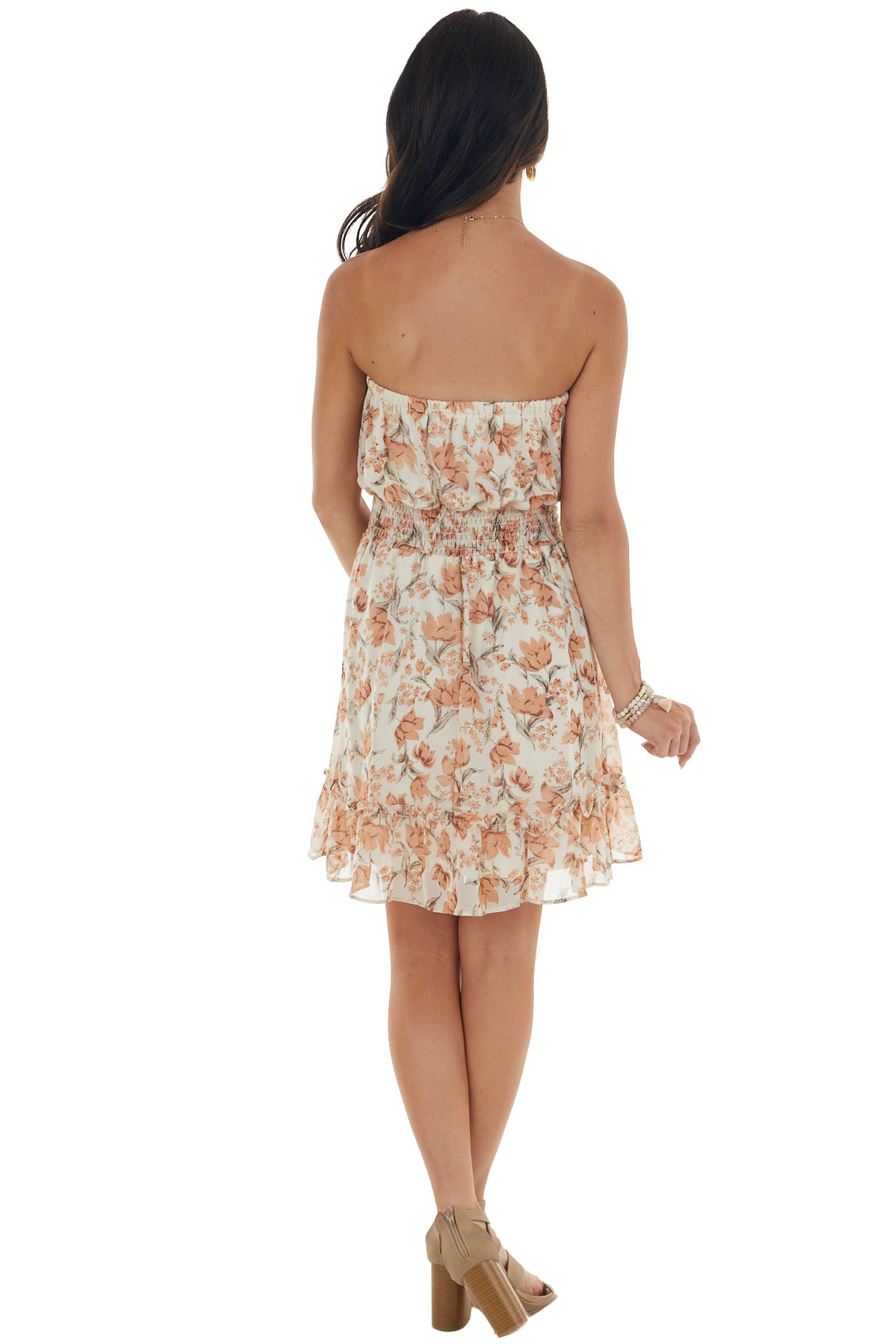 Champagne Floral Strapless Woven Short Dress