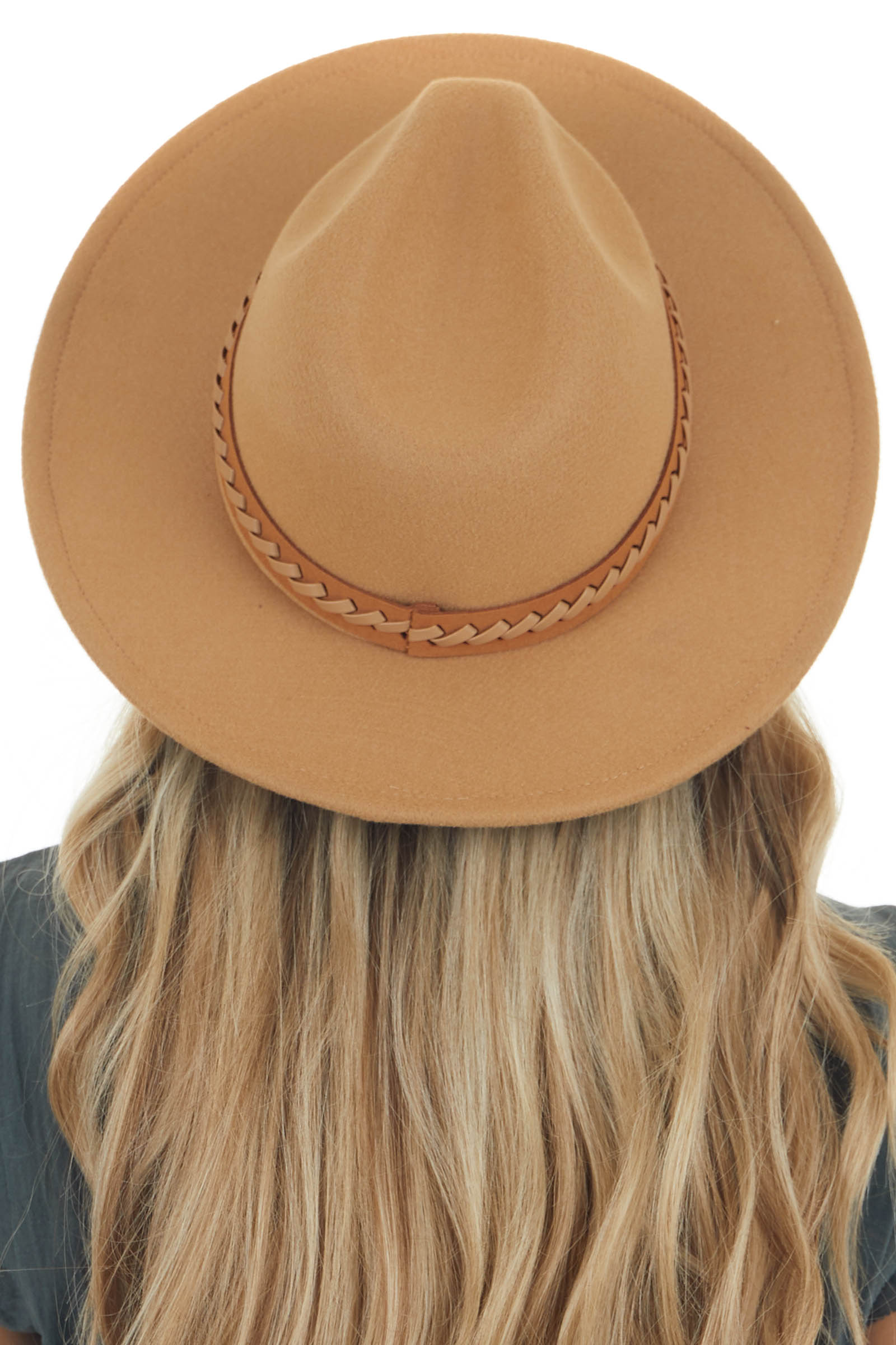 Nude Felt Wide Brim Hat with Leather Strap