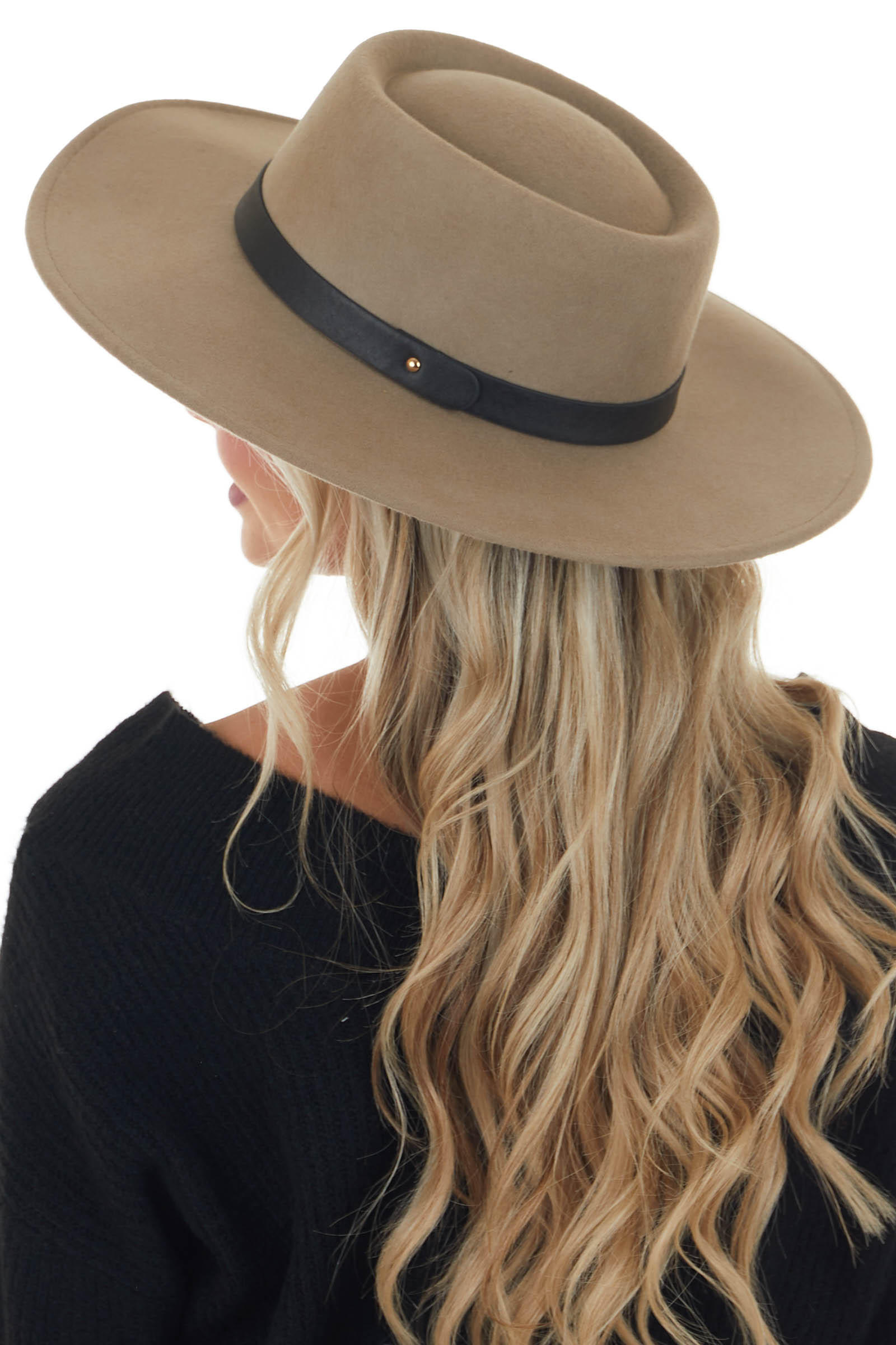 Taupe Wool Boater Hat with Pleather Strap