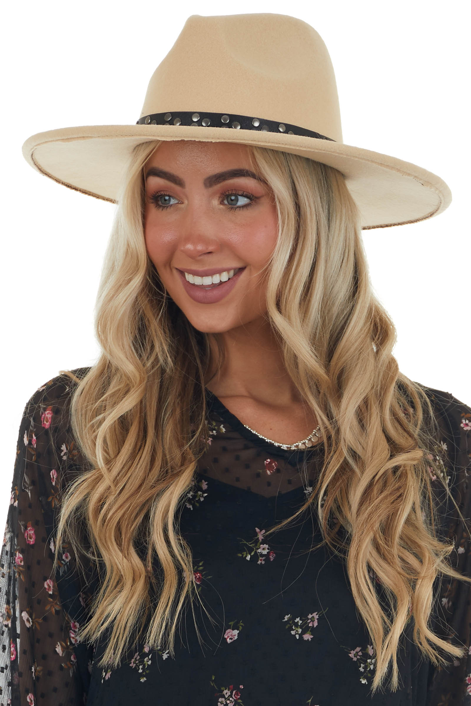Sand Felt Wide Brim Hat with Studded Band