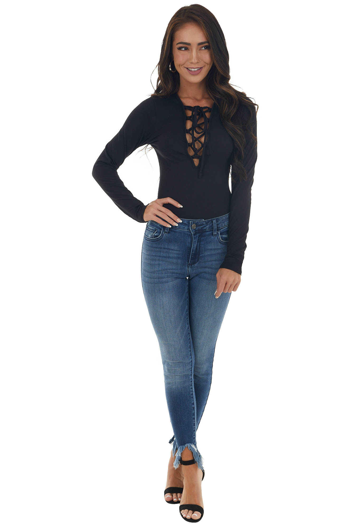 Black Ribbed Knit Bodysuit with Lace Up Front