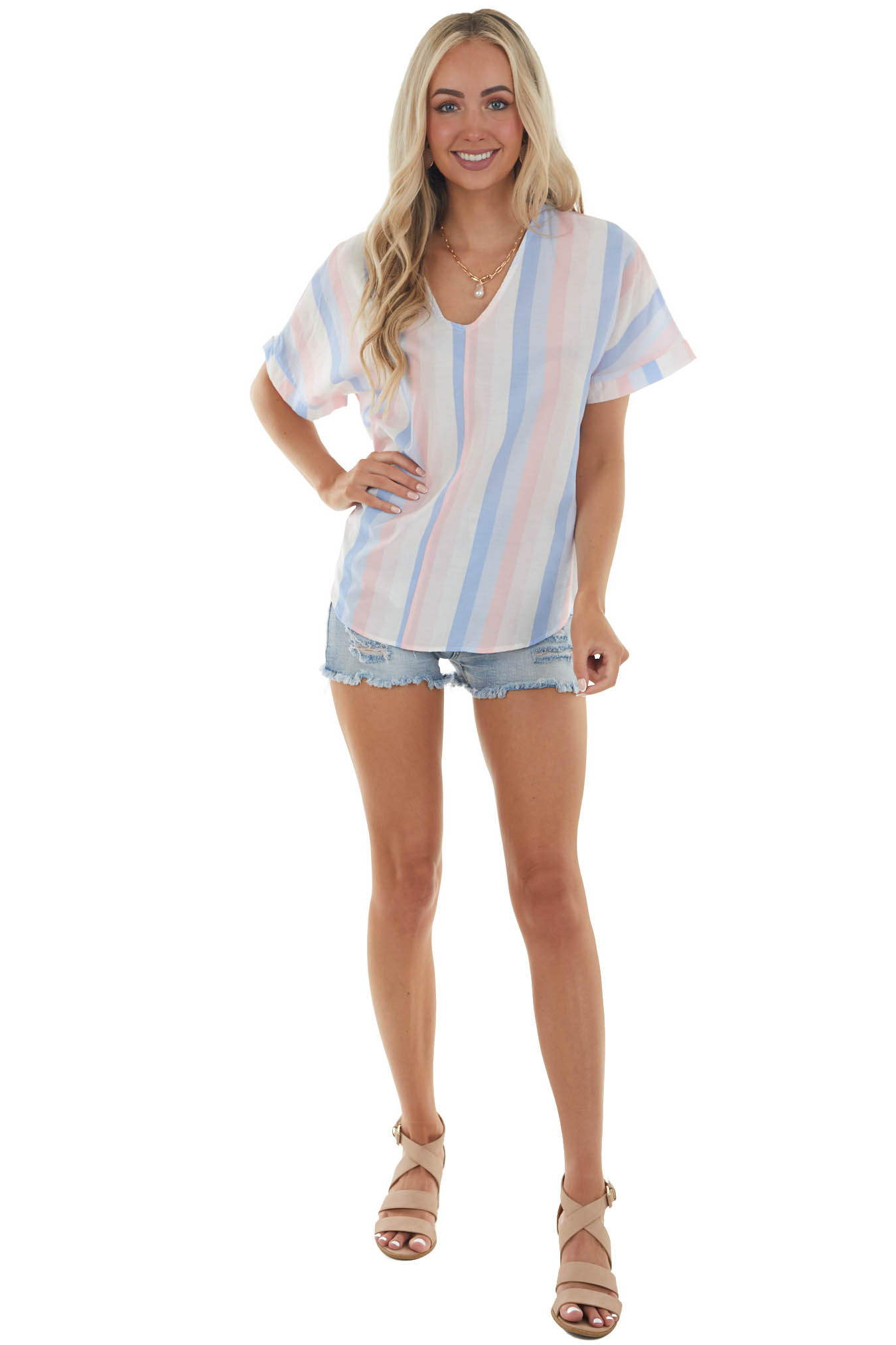 Carnation and Cornflower Striped Woven Top