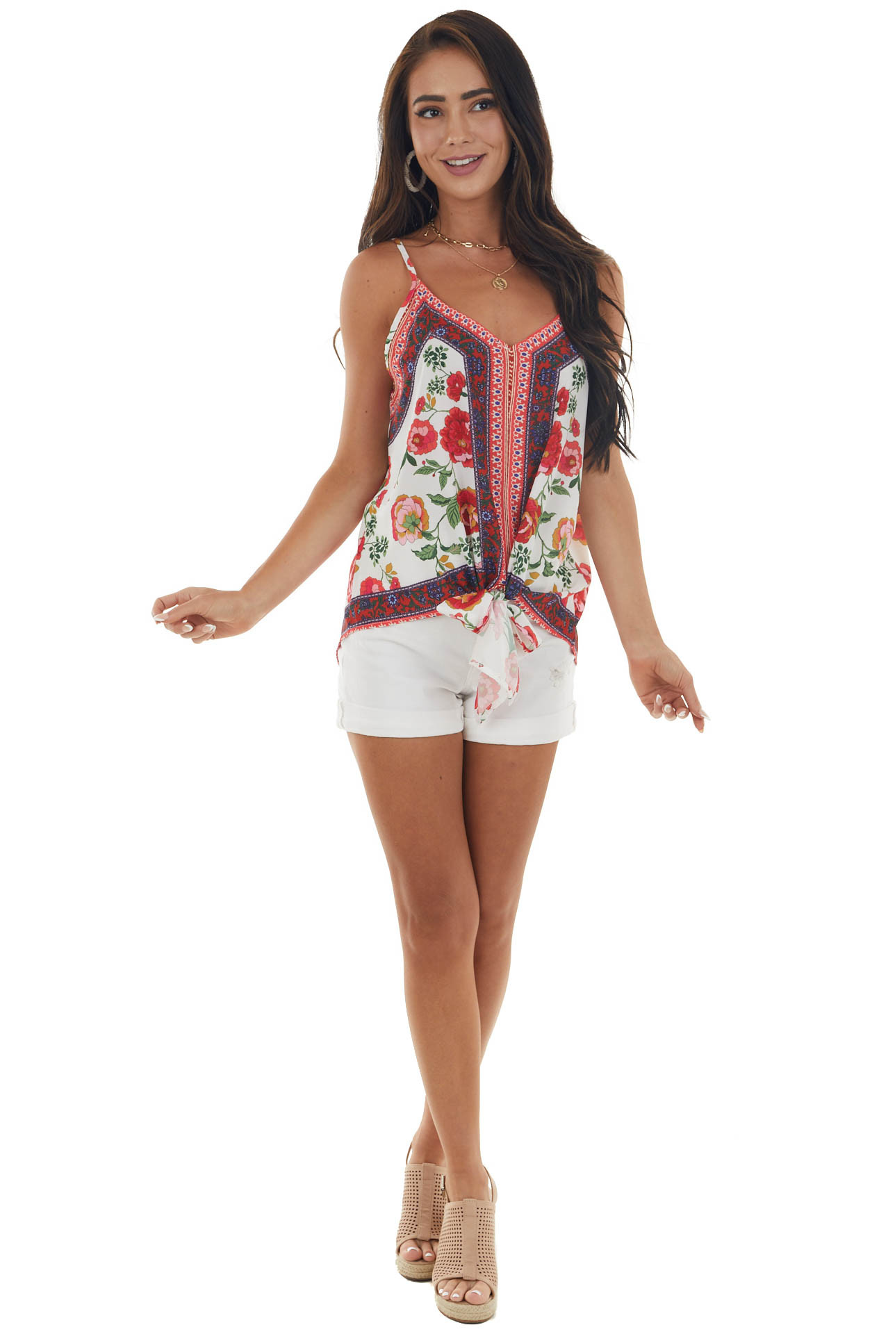 White Floral Print Sleeveless Blouse with Front Tie