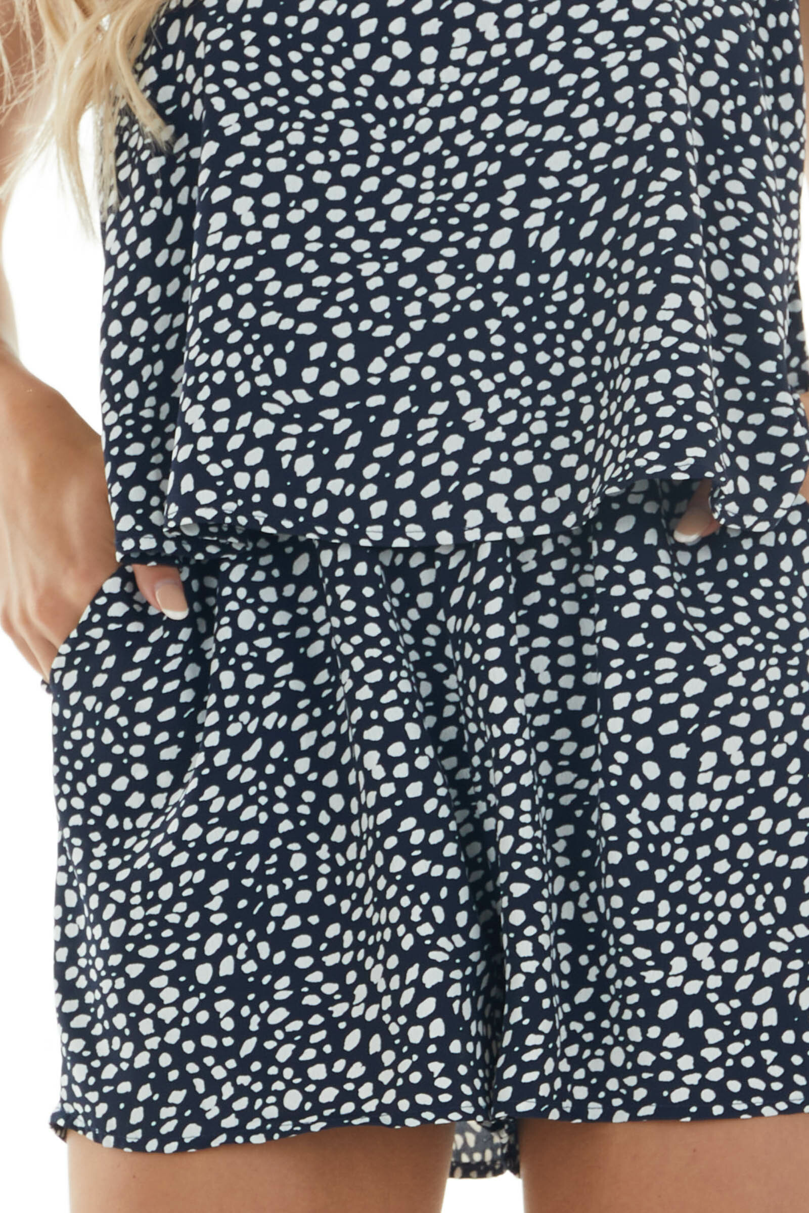 Navy and Off White Cheetah Print Romper