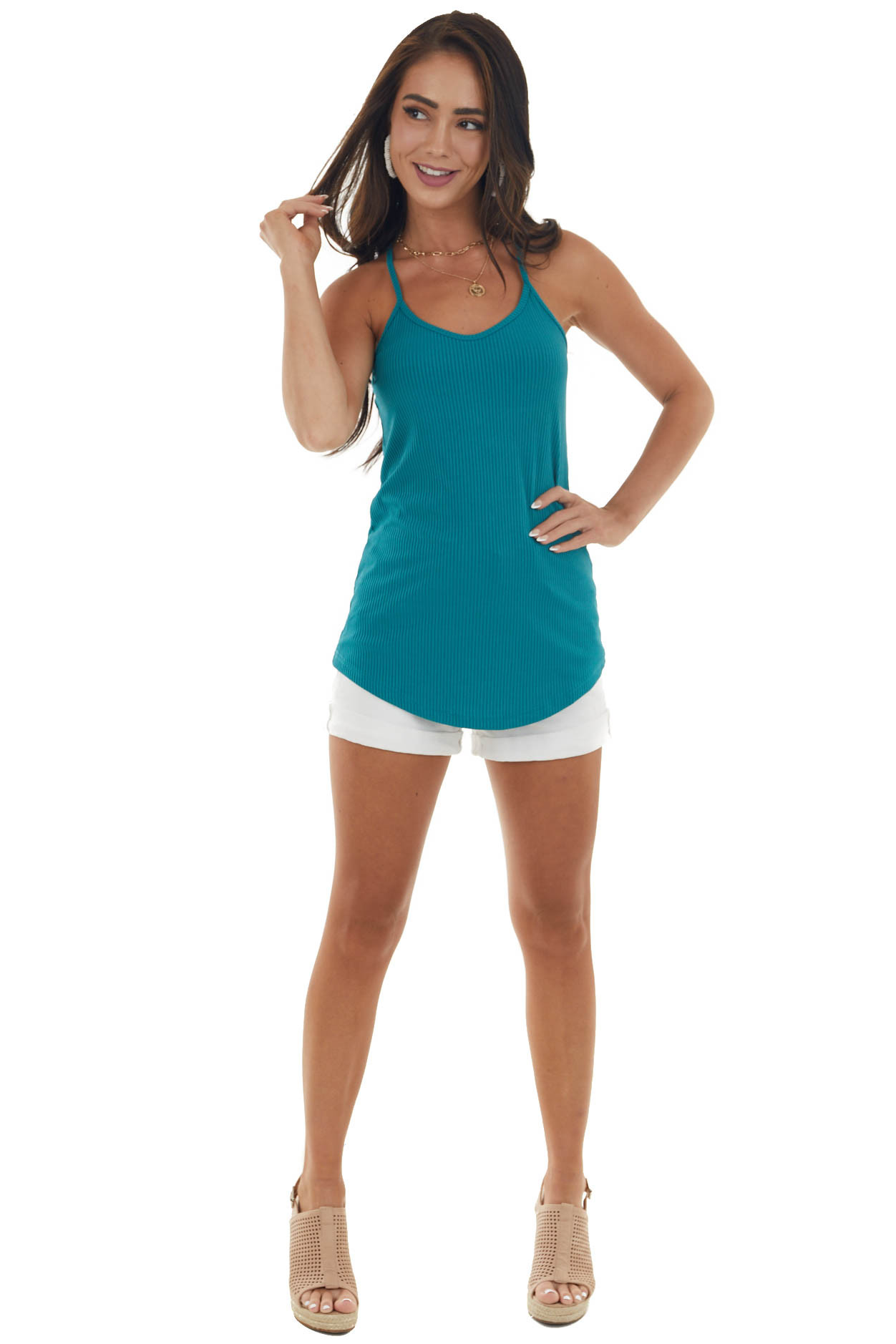 Pine Green Racerback Wide Ribbed Knit Tank Top