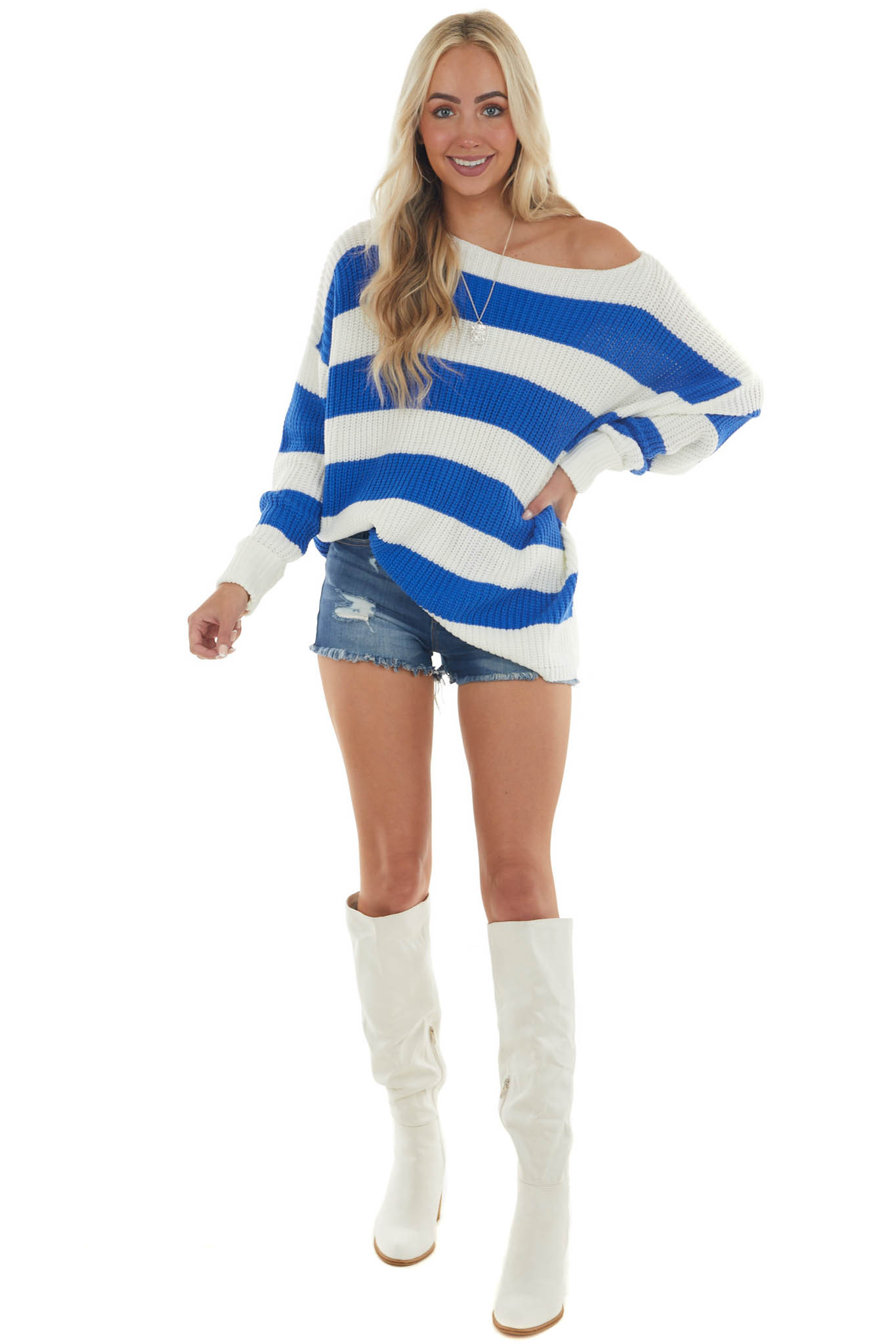 Cobalt Striped Long Sleeve Ribbed Sweater with Cuff Detail