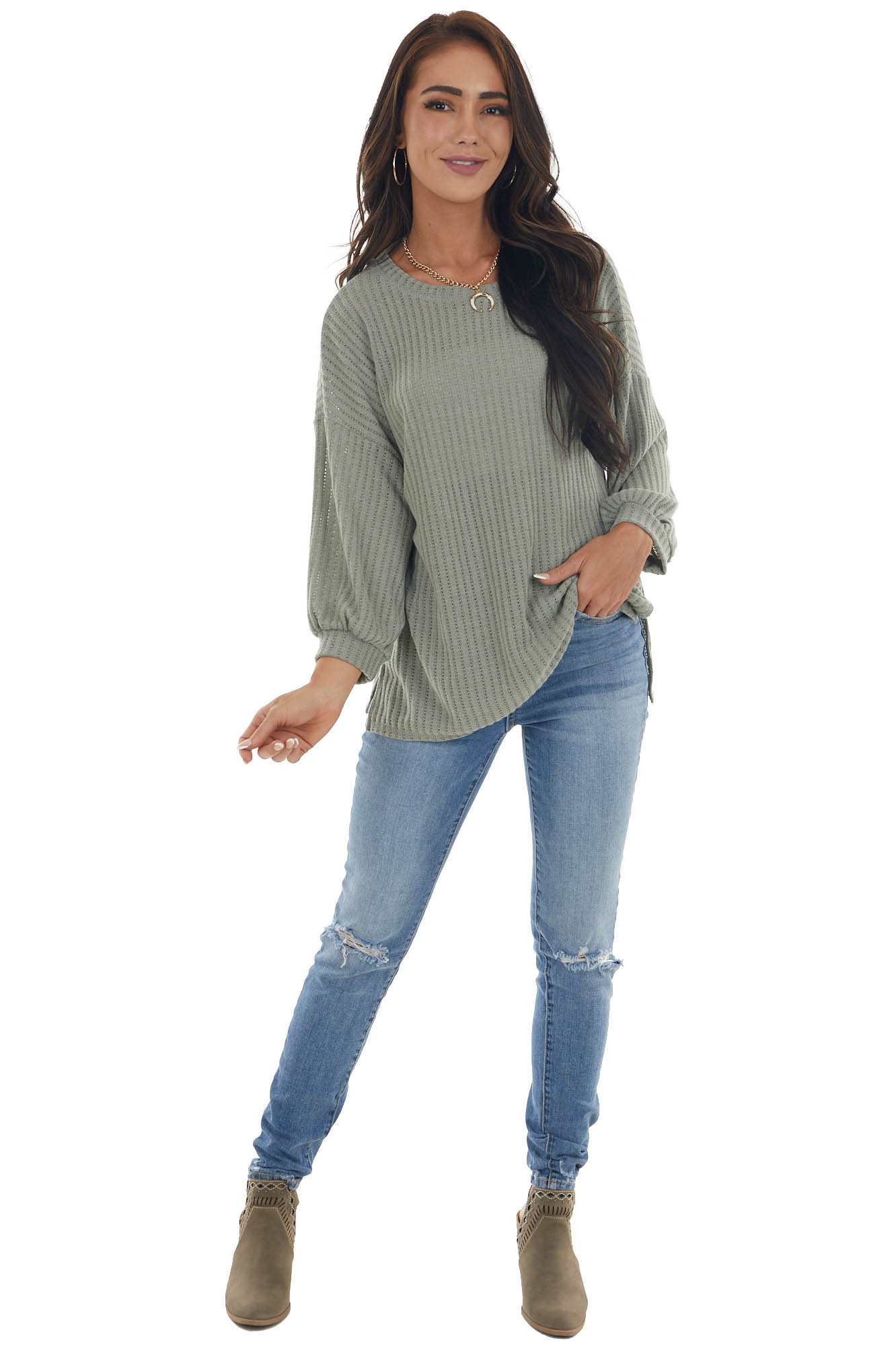 Sage Knit Sweater Top with Long Sleeves