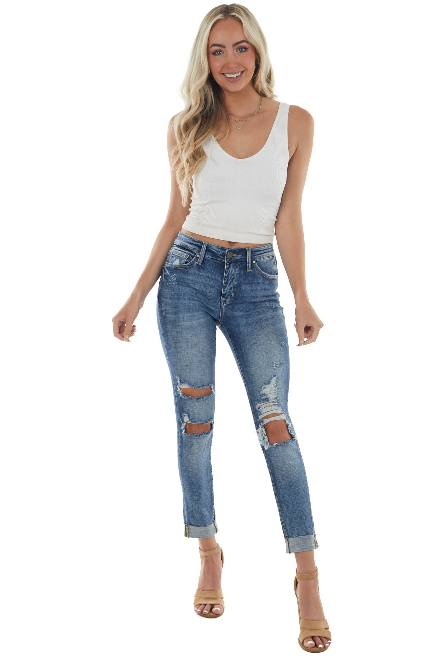 Medium Mid Rise Relaxed Fit Distressed Jeans