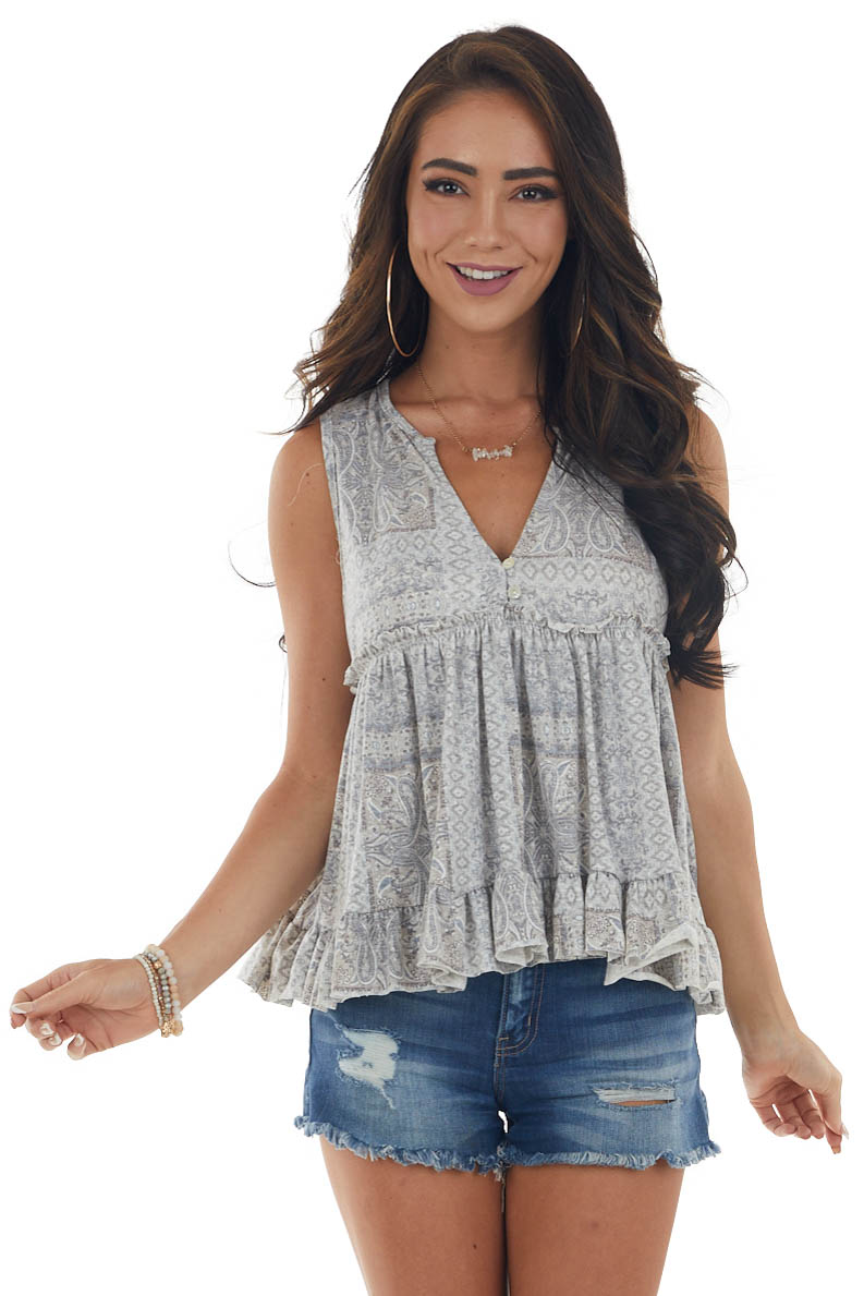 Dove and Slate Paisley Babydoll Flowy Top