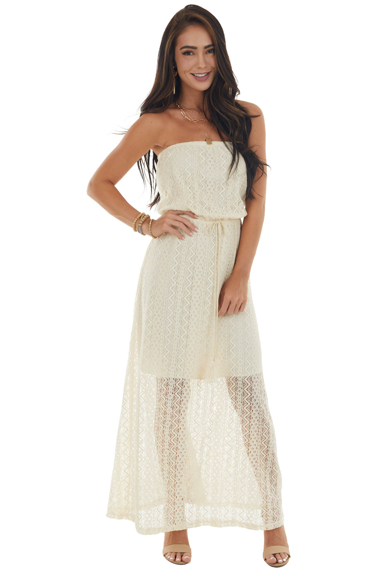 Champagne Strapless Front Tie Lace Maxi Dress