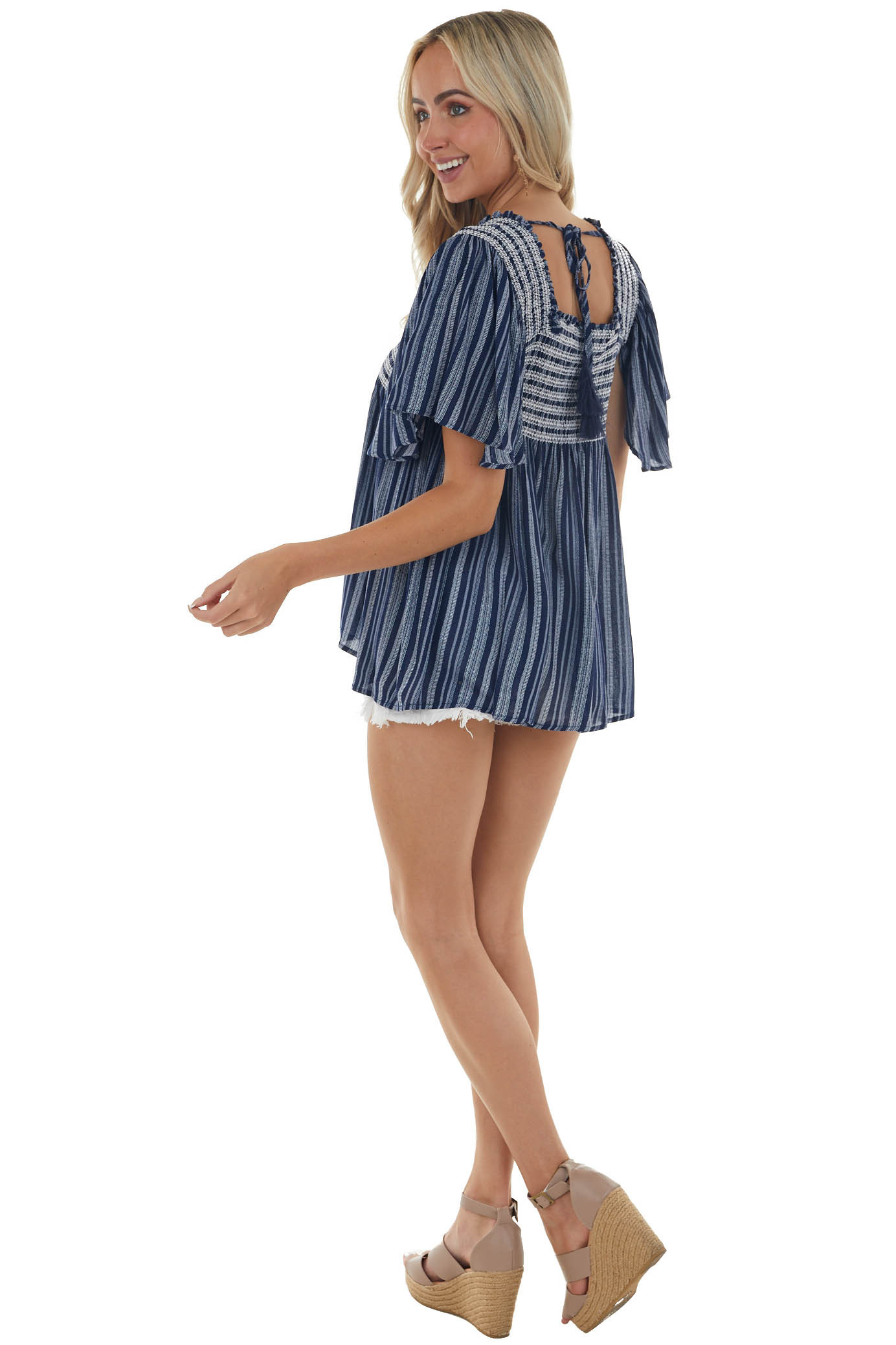Midnight Blue Striped Embroidered Smocked Top