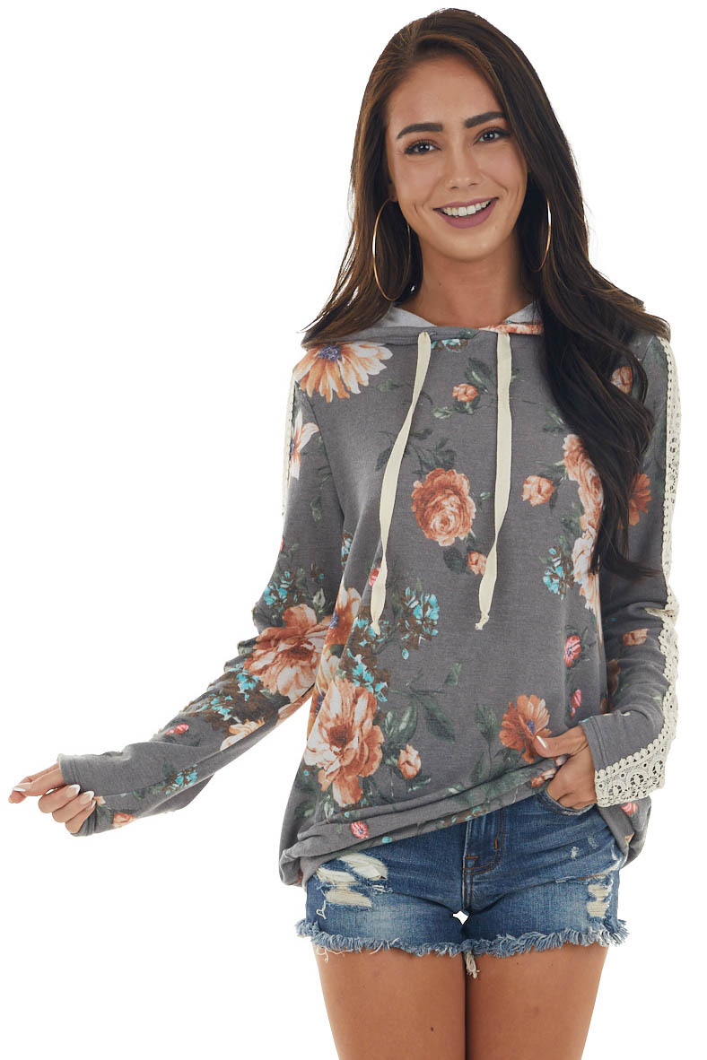 Graphite Floral Hoodie Top with Lace Detail