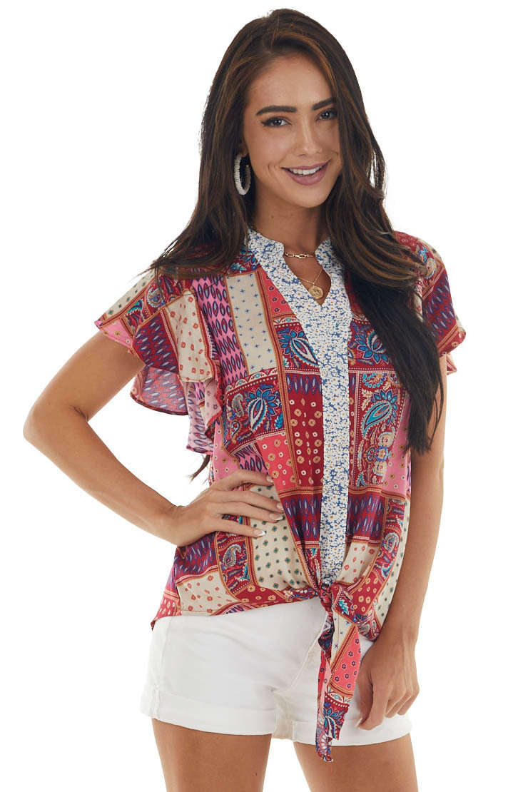 Maroon Printed Top with Front Tie Detail
