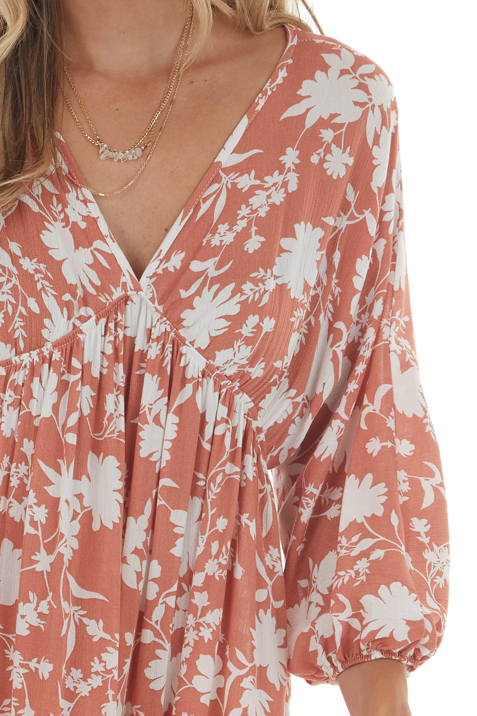 Dusty Coral and White Floral Dress with Bubble Sleeves