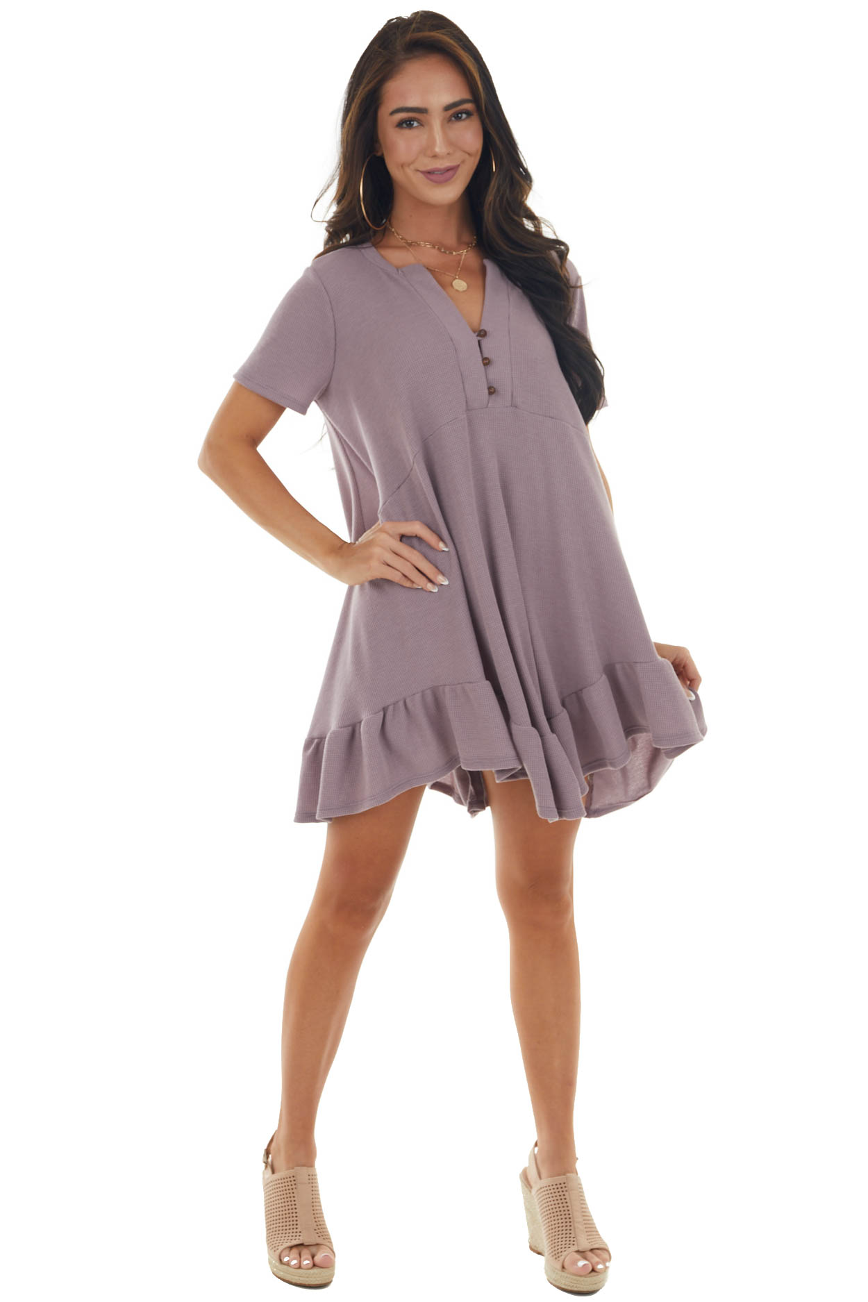 Lavender Thermal Knit Babydoll Button Up Dress