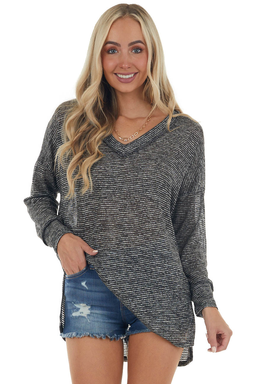Black and Ivory Striped Print Knit Sweater Top