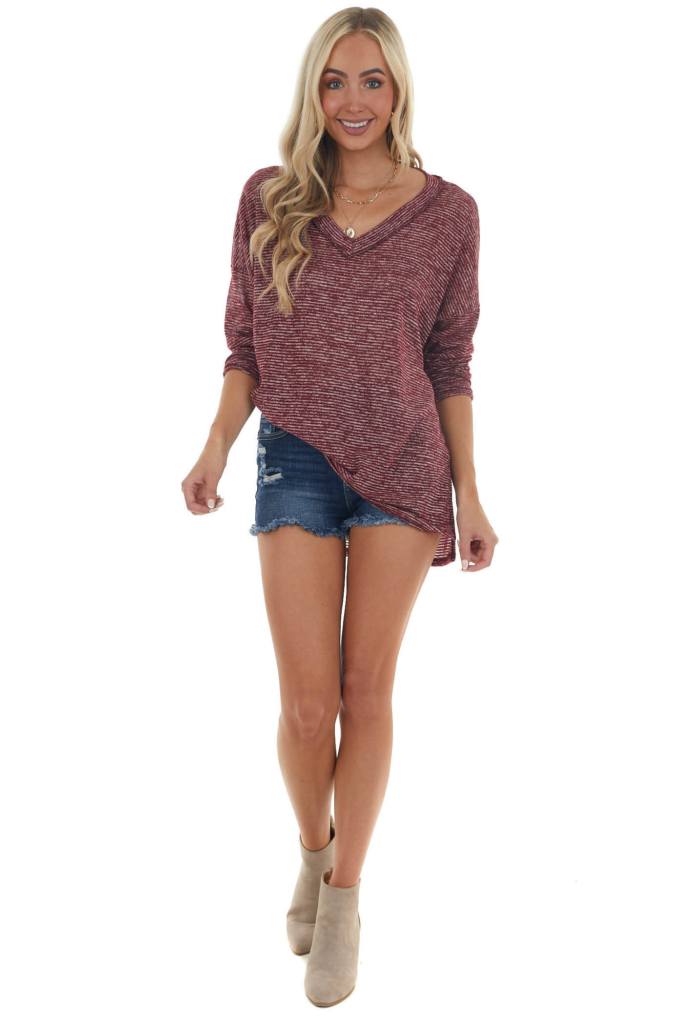 Maroon and Ivory Striped Knit Sweater Top
