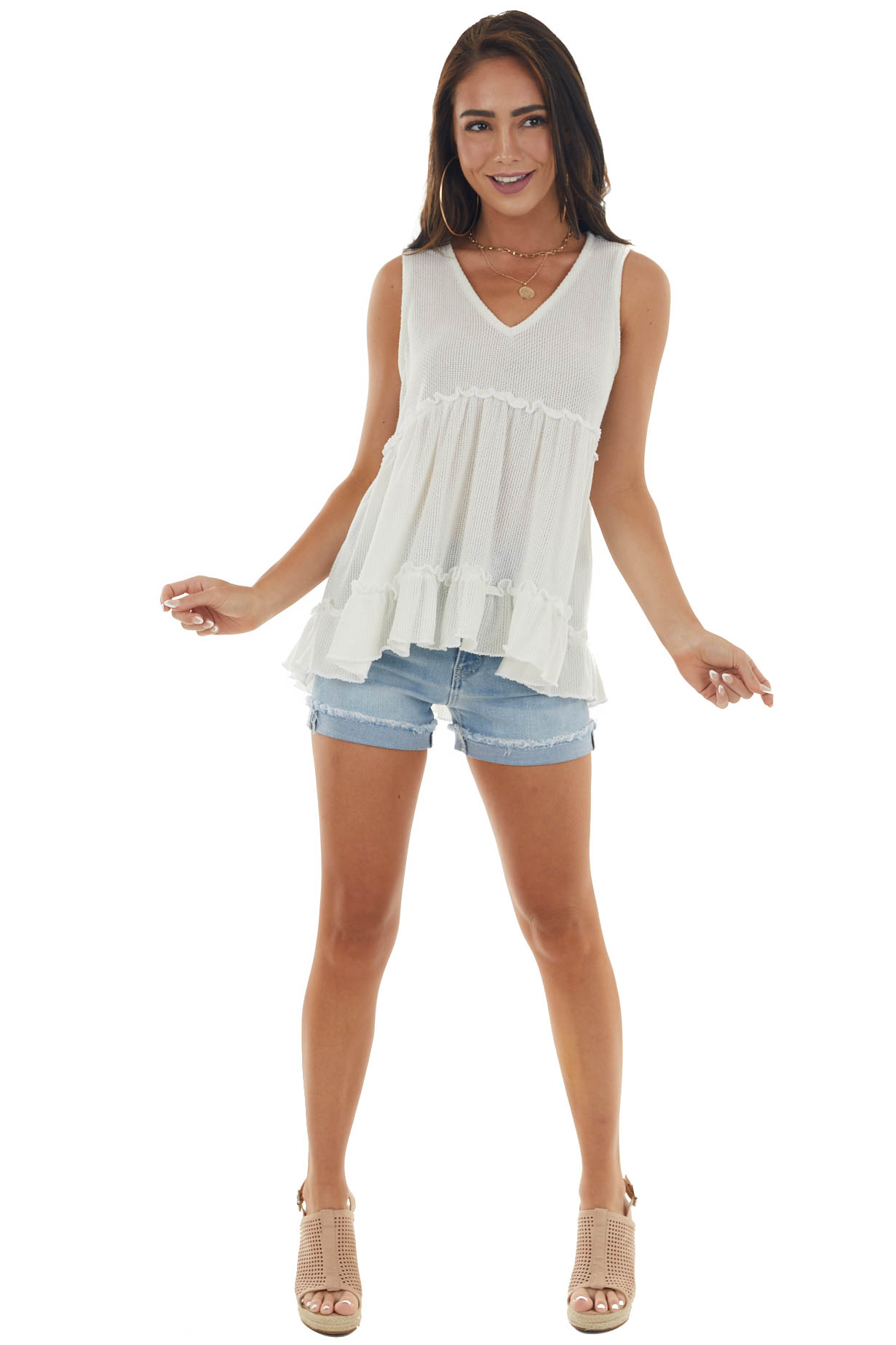 Ivory Loose Knit Frilled Babydoll Tank Top