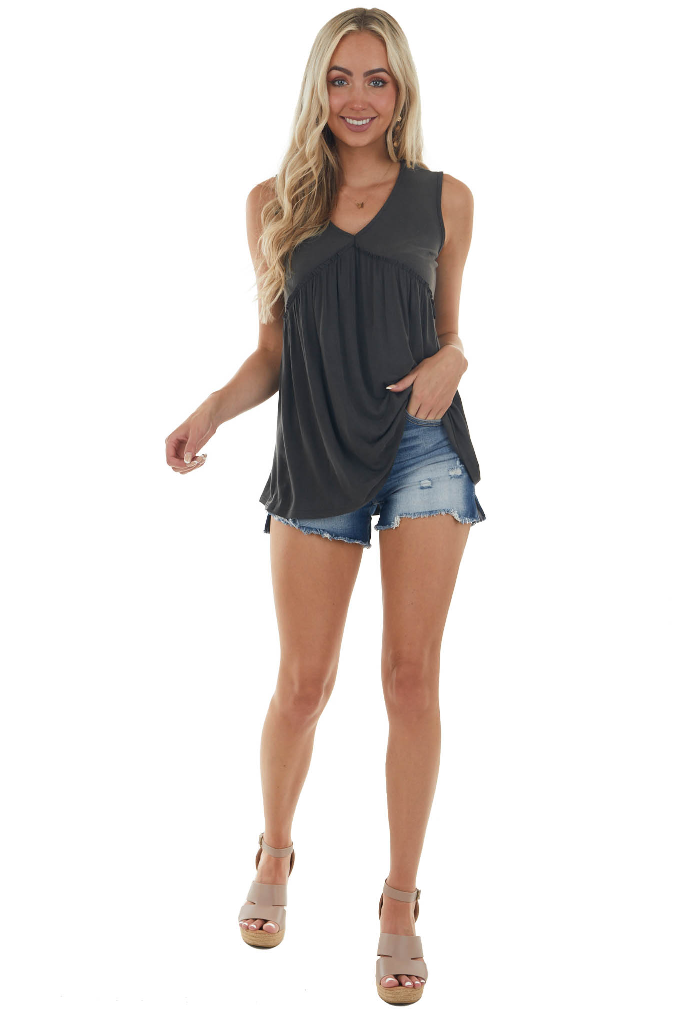 Charcoal Frilled Babydoll Knit Tank Top