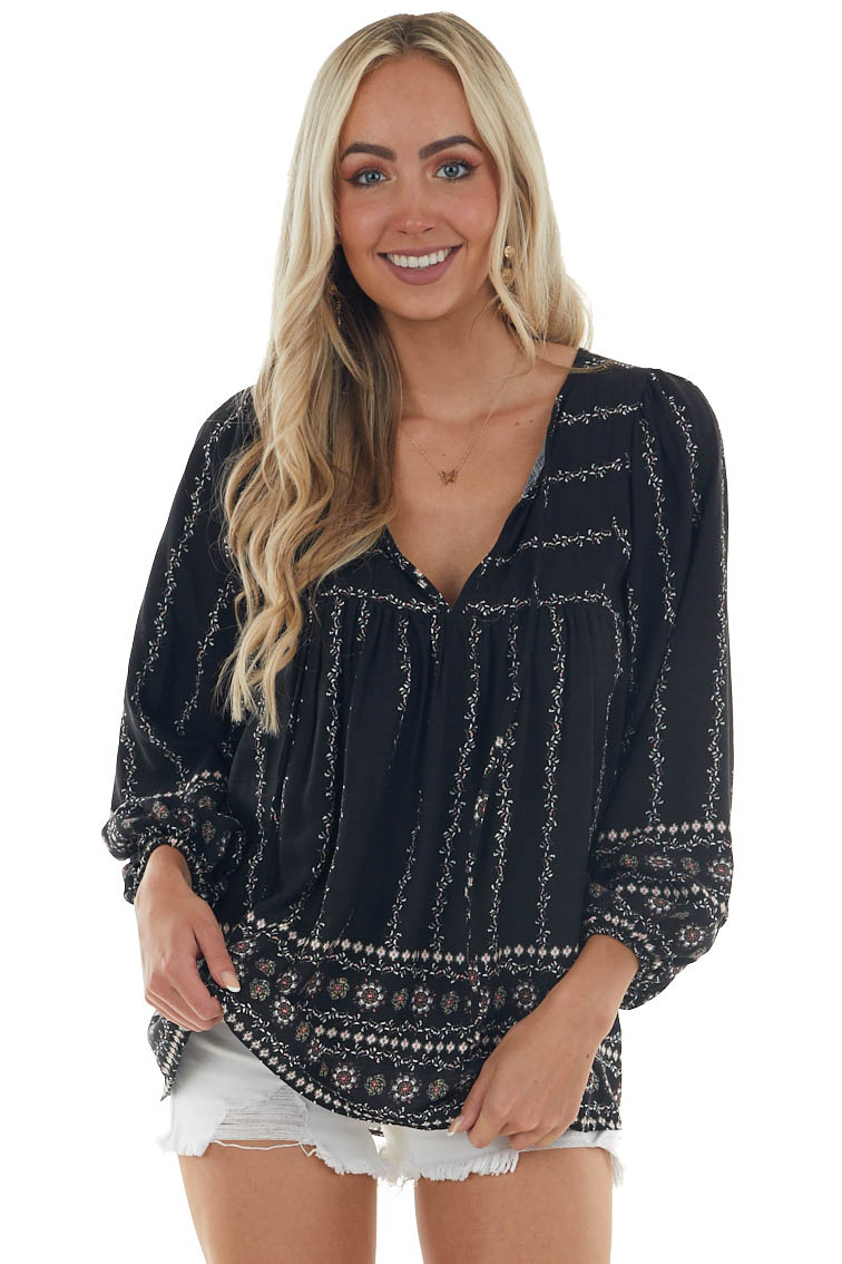 Black Floral Print Blouse with Long Sleeves