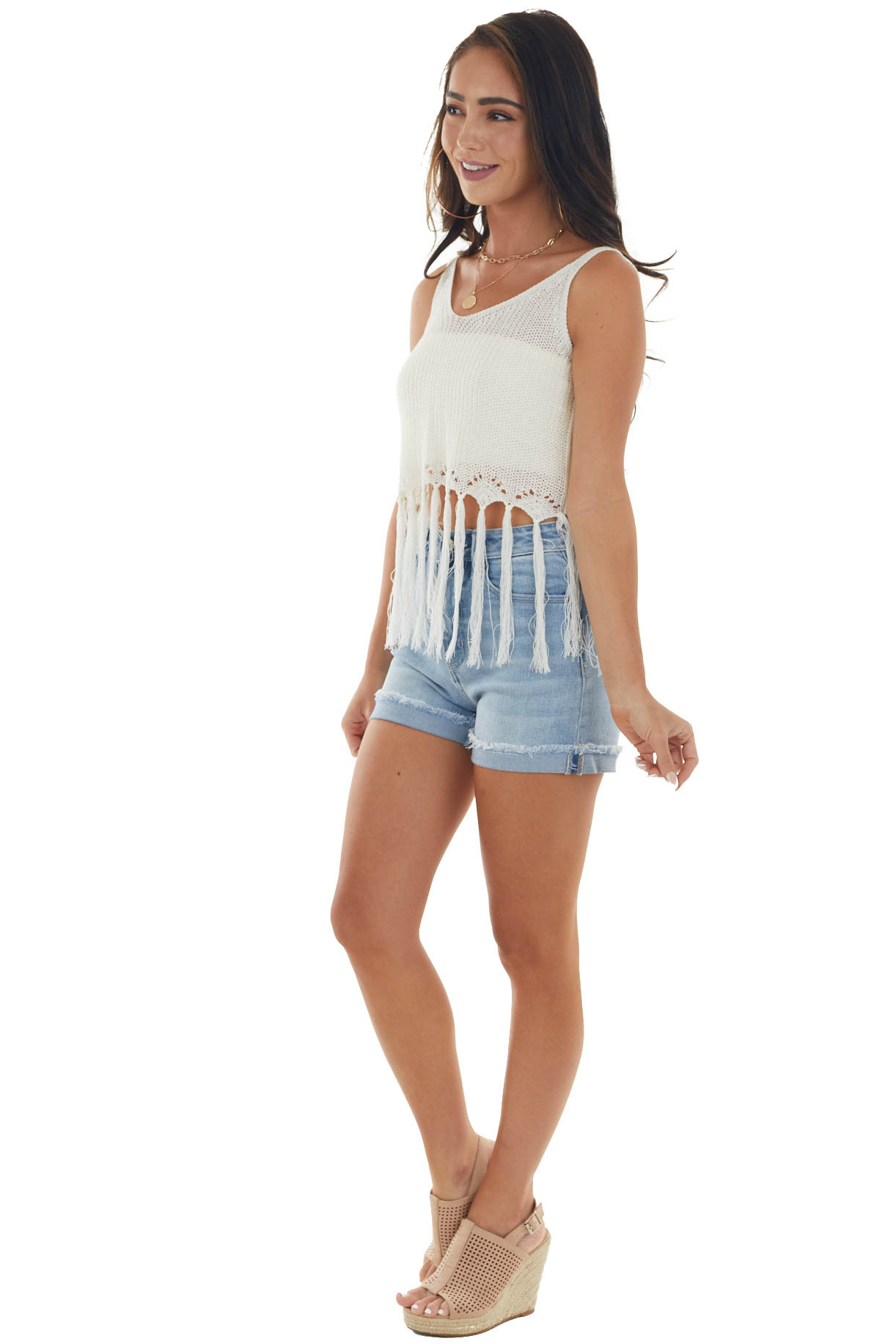 Ivory Loose Knit Cropped Top with Fringed Hem