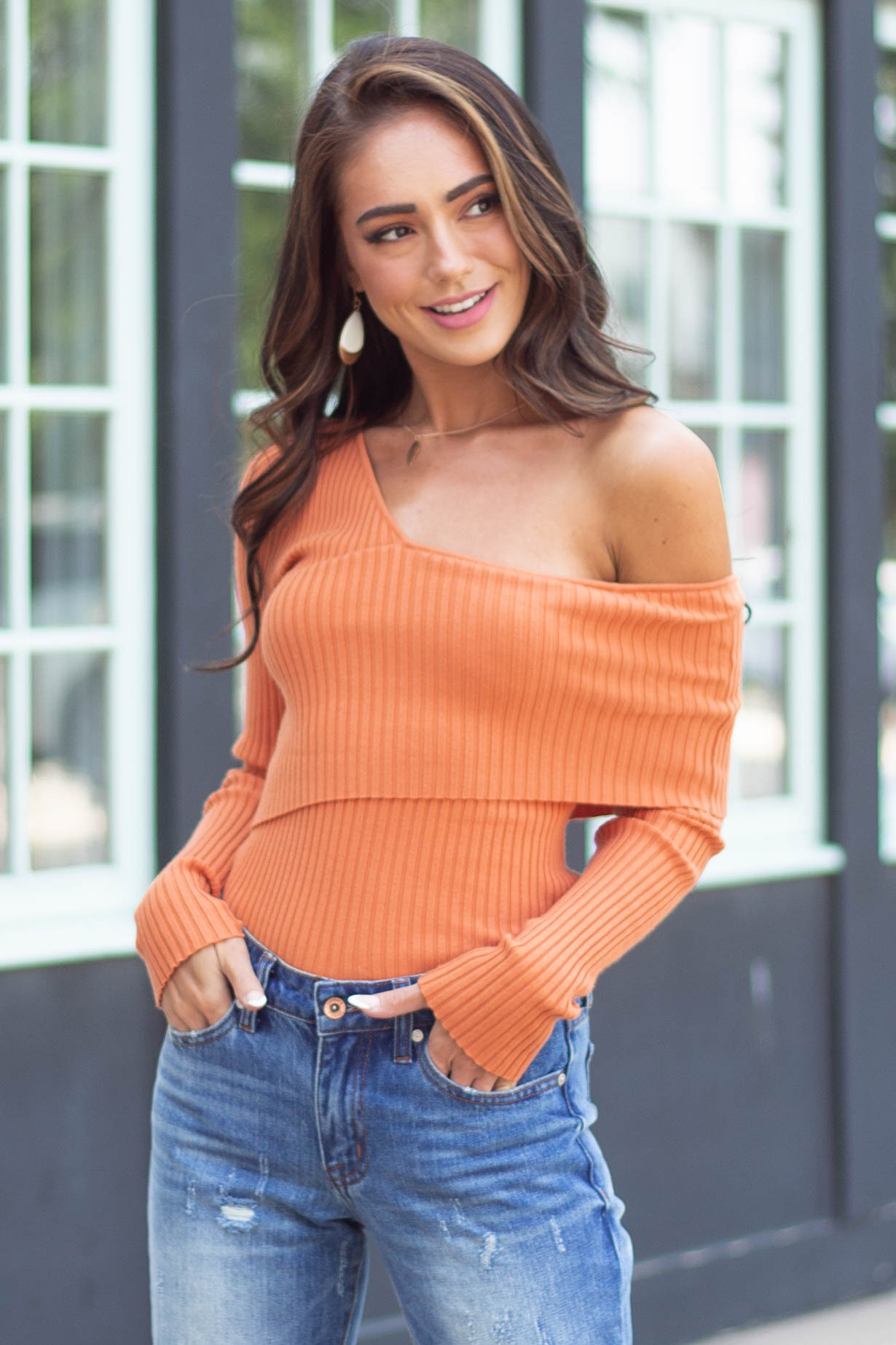 Tawny One Shoulder Fitted Ribbed Knit Top