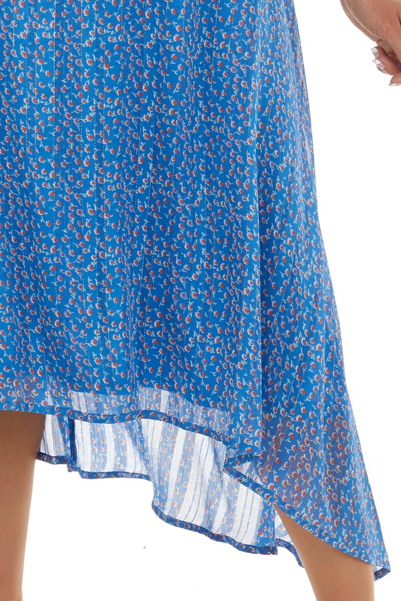 Sapphire Ditsy Floral Print High Low Dress