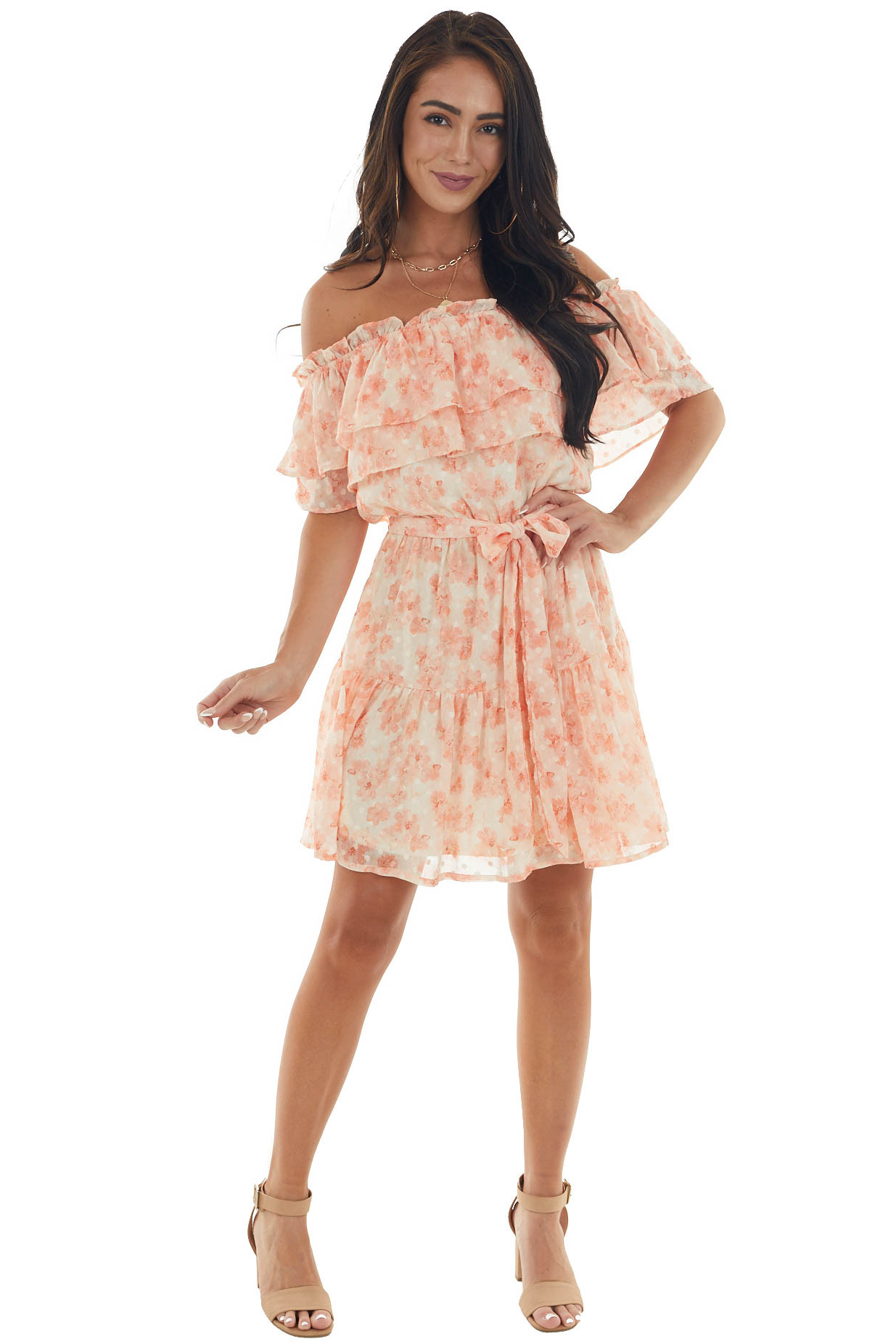 Peach Floral Off Shoulder Ruffle Tiered Dress