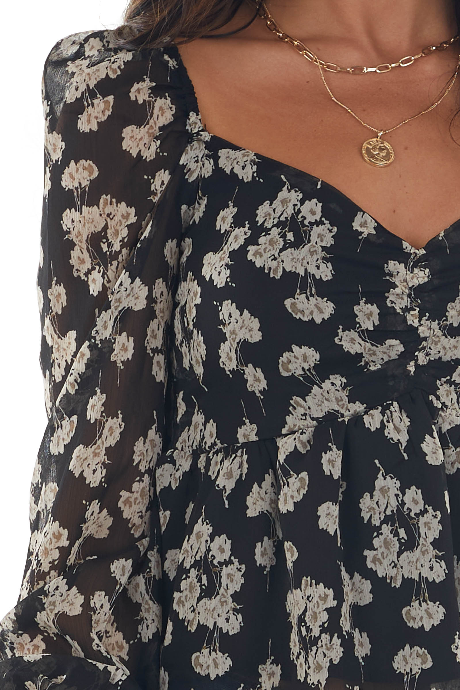 Black and Cream Floral Sheer Long Sleeve Blouse