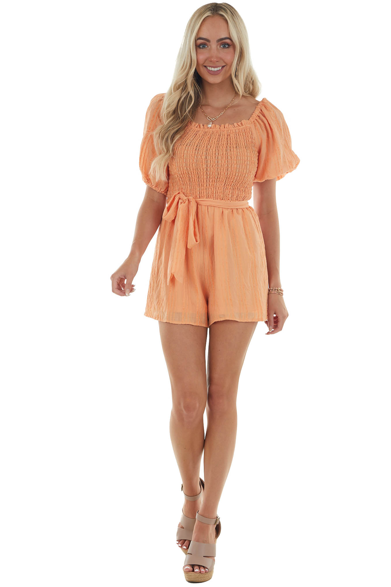 Melon Textured Romper with Short Puff Sleeves